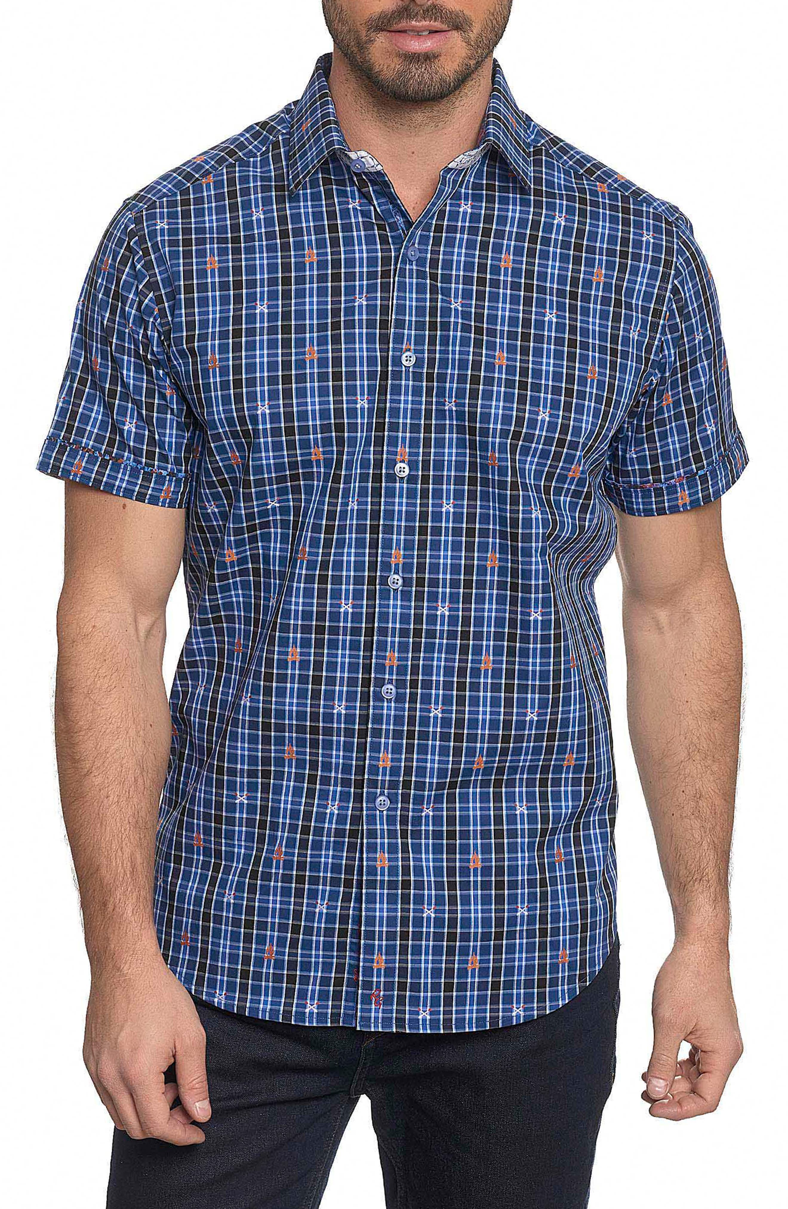 Campfire Embroidered Check Sport Shirt,                         Main,                         color, 400