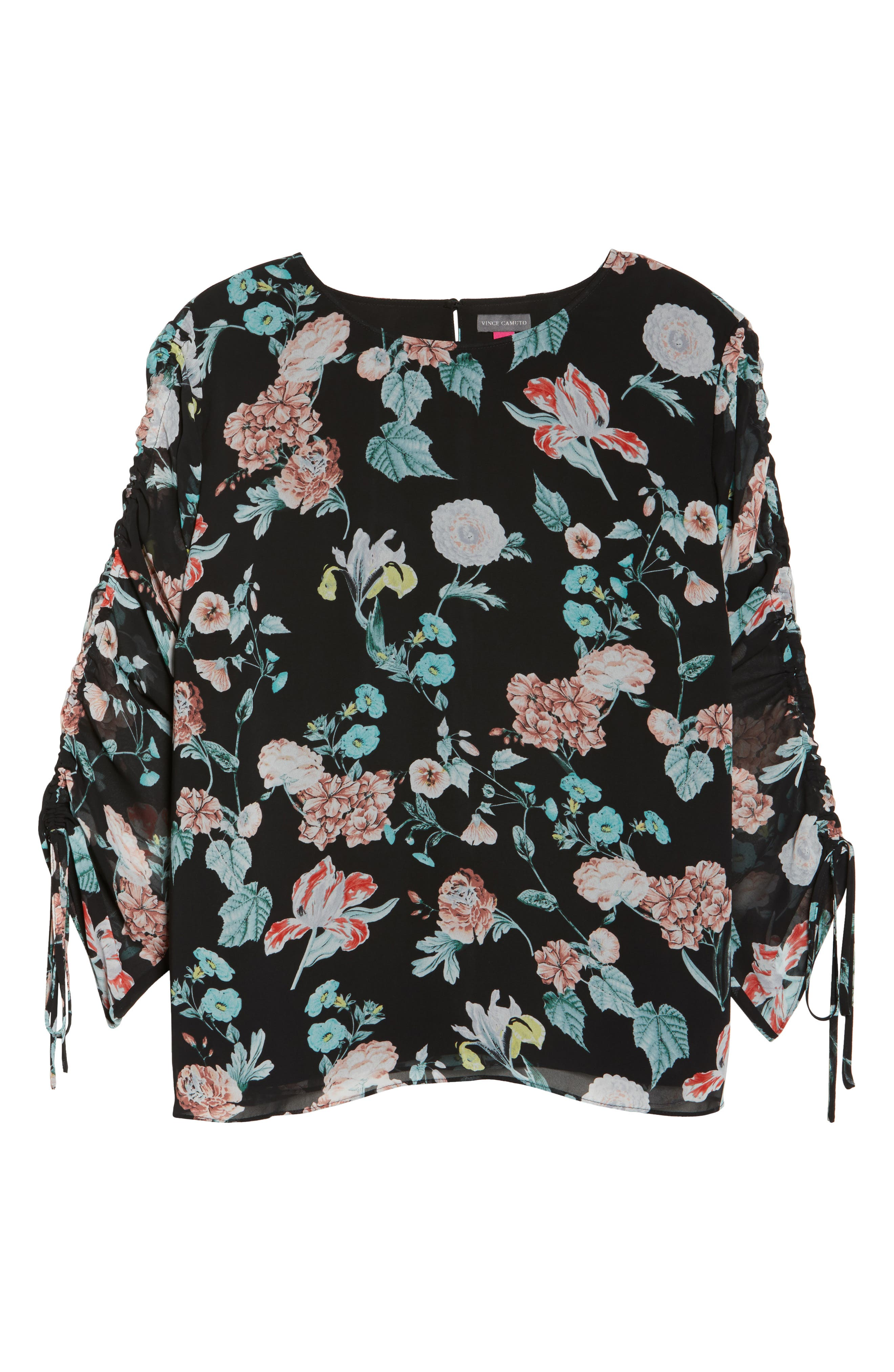 Floral Gardens Drawstring Sleeve Blouse,                             Alternate thumbnail 6, color,                             010