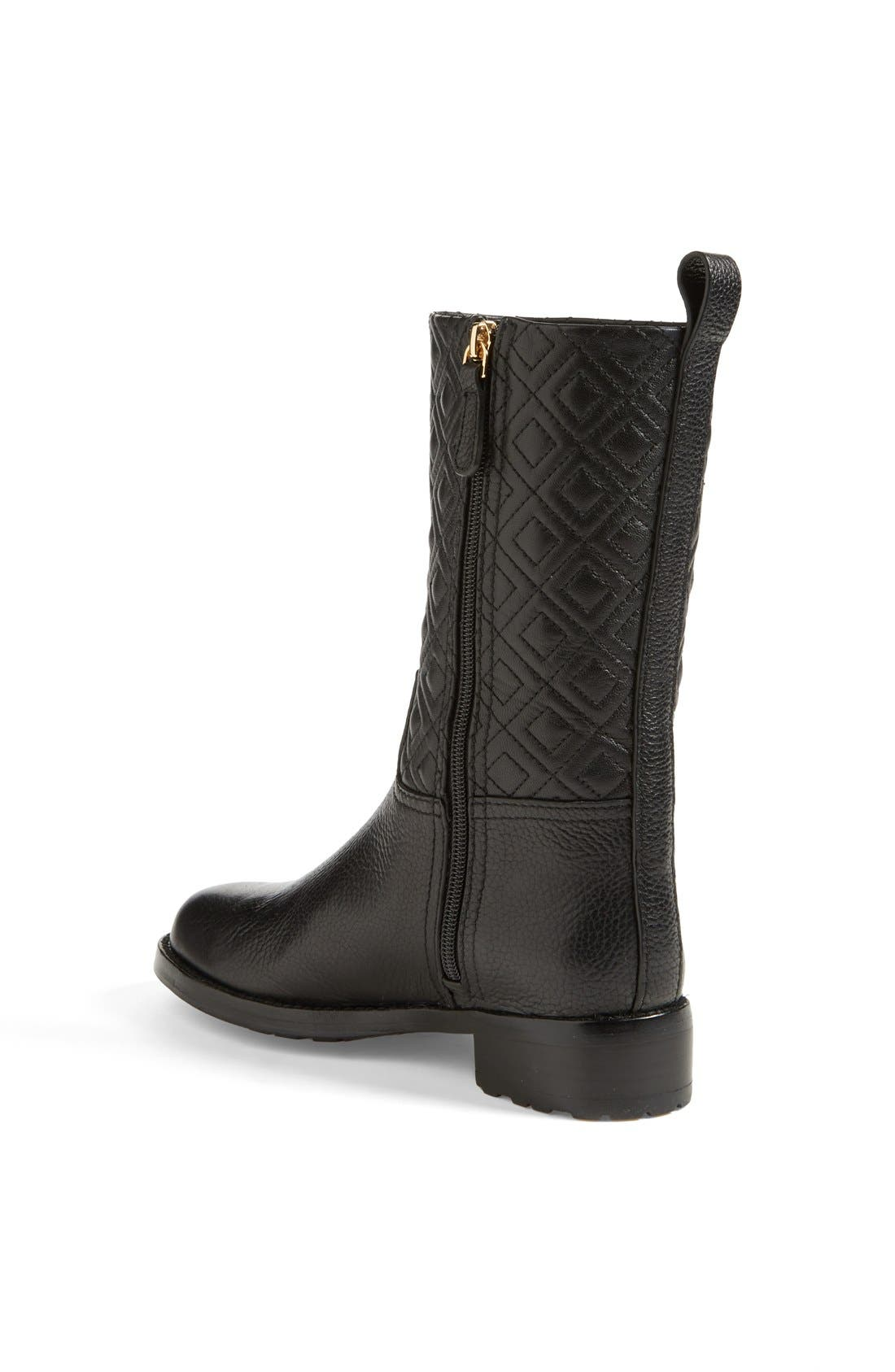 'Marion' Quilted Shaft Leather Boot,                             Alternate thumbnail 2, color,                             001