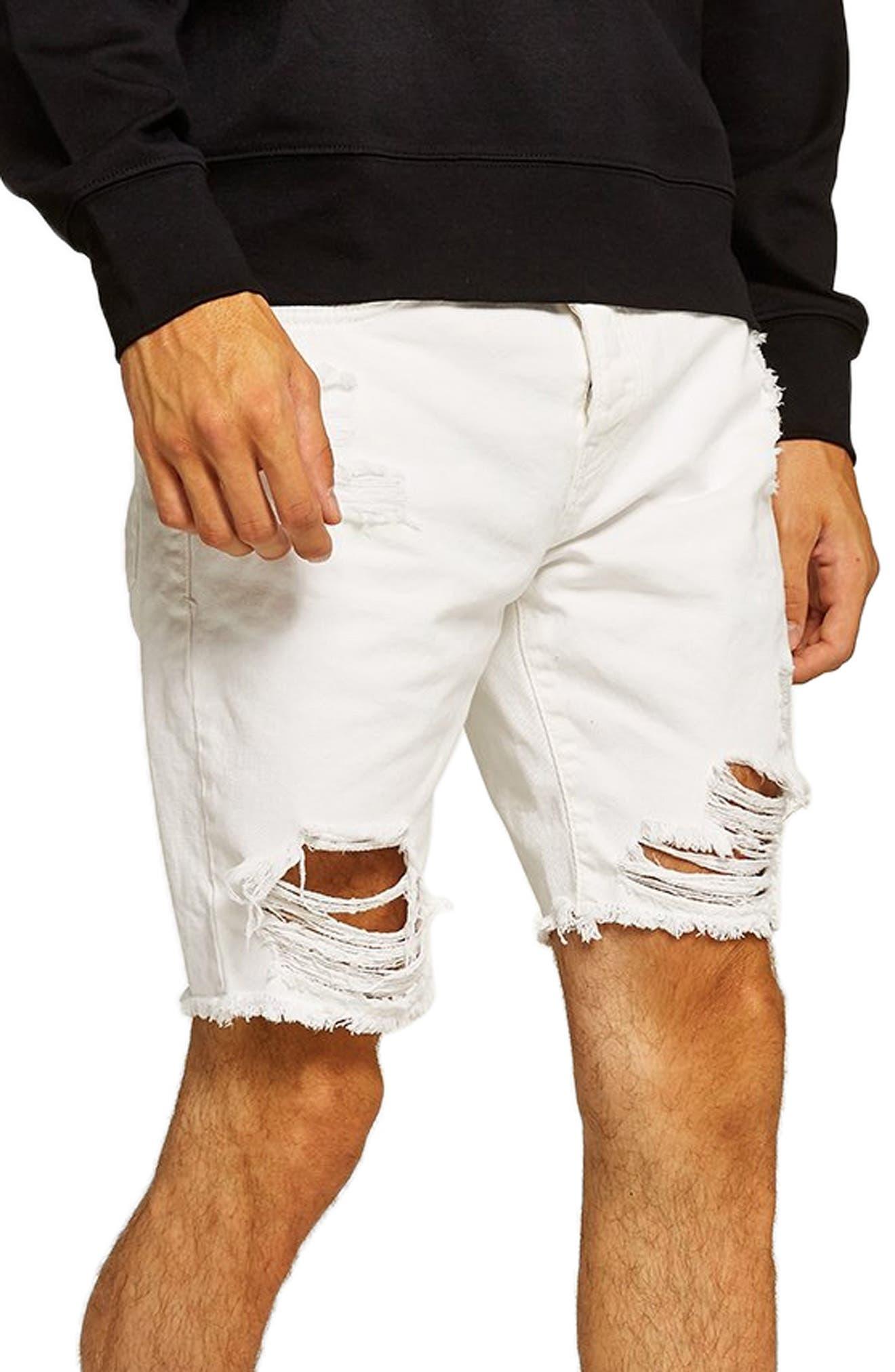 Slim Fit Shredded Jean Shorts,                             Main thumbnail 1, color,                             WHITE
