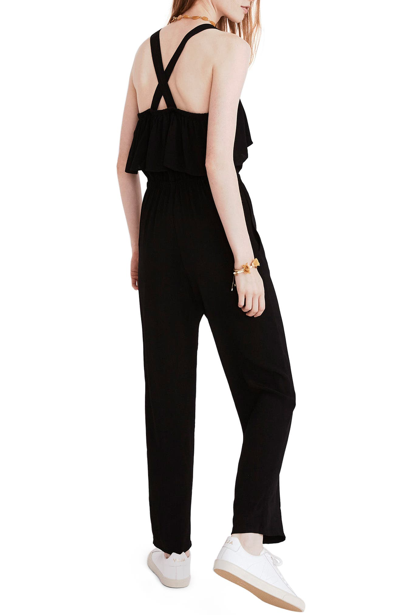 Apron Ruffle Jumpsuit,                             Alternate thumbnail 2, color,                             001