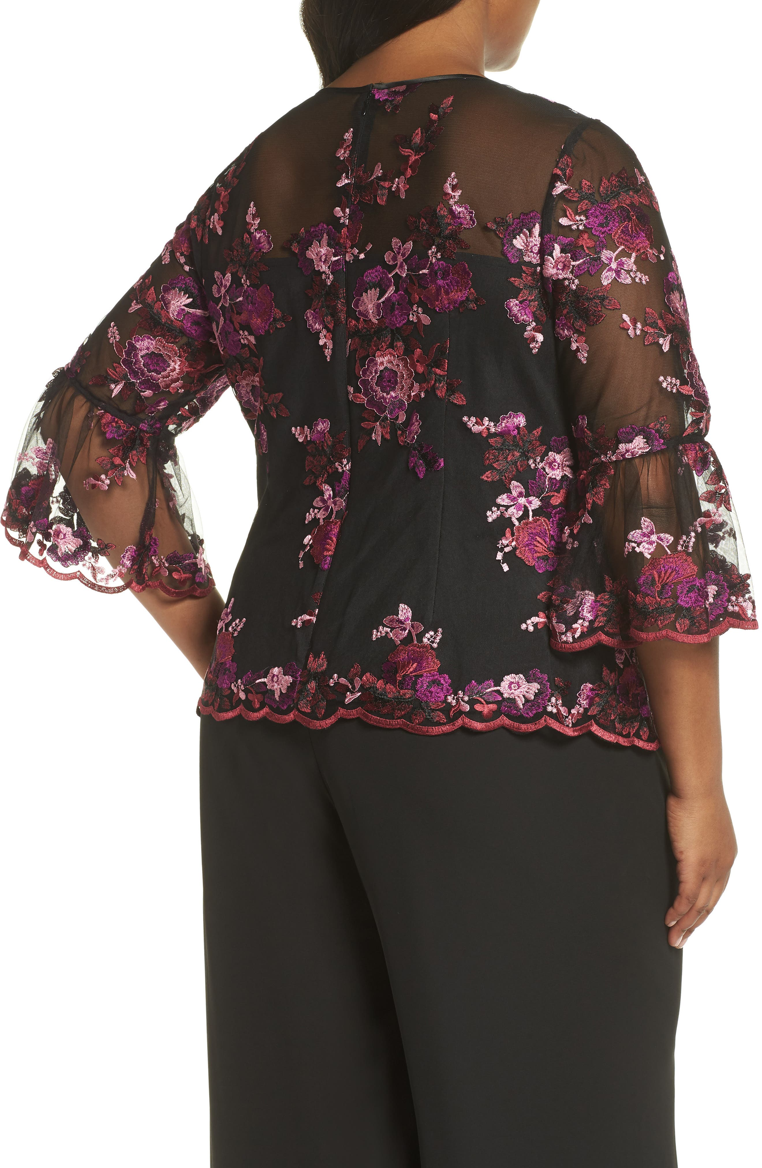 Three-Quarter Sleeve Embroidered Top,                             Alternate thumbnail 2, color,                             BLACK MULTI