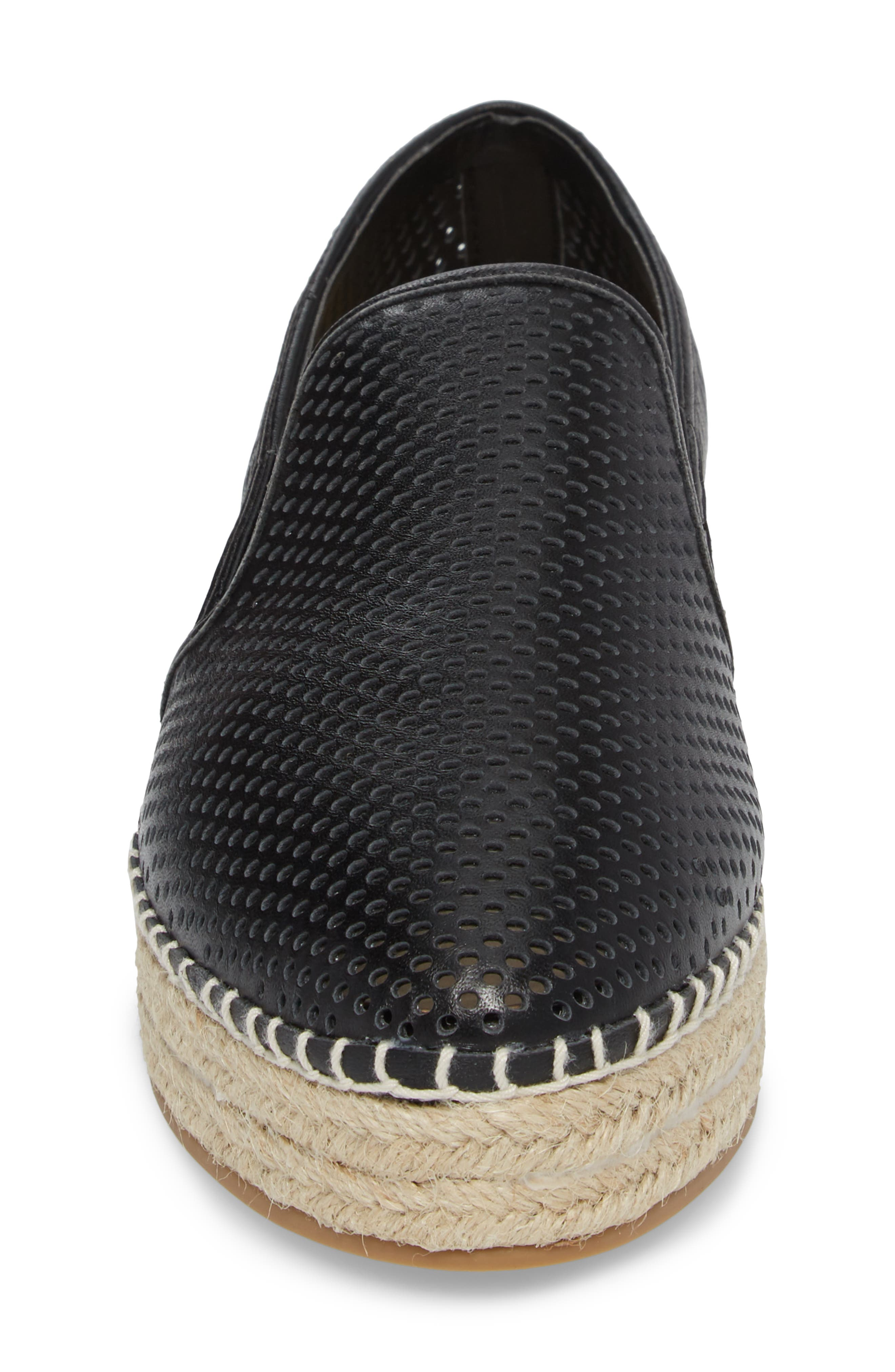 Wright Perforated Platform Espadrille,                             Alternate thumbnail 4, color,                             001