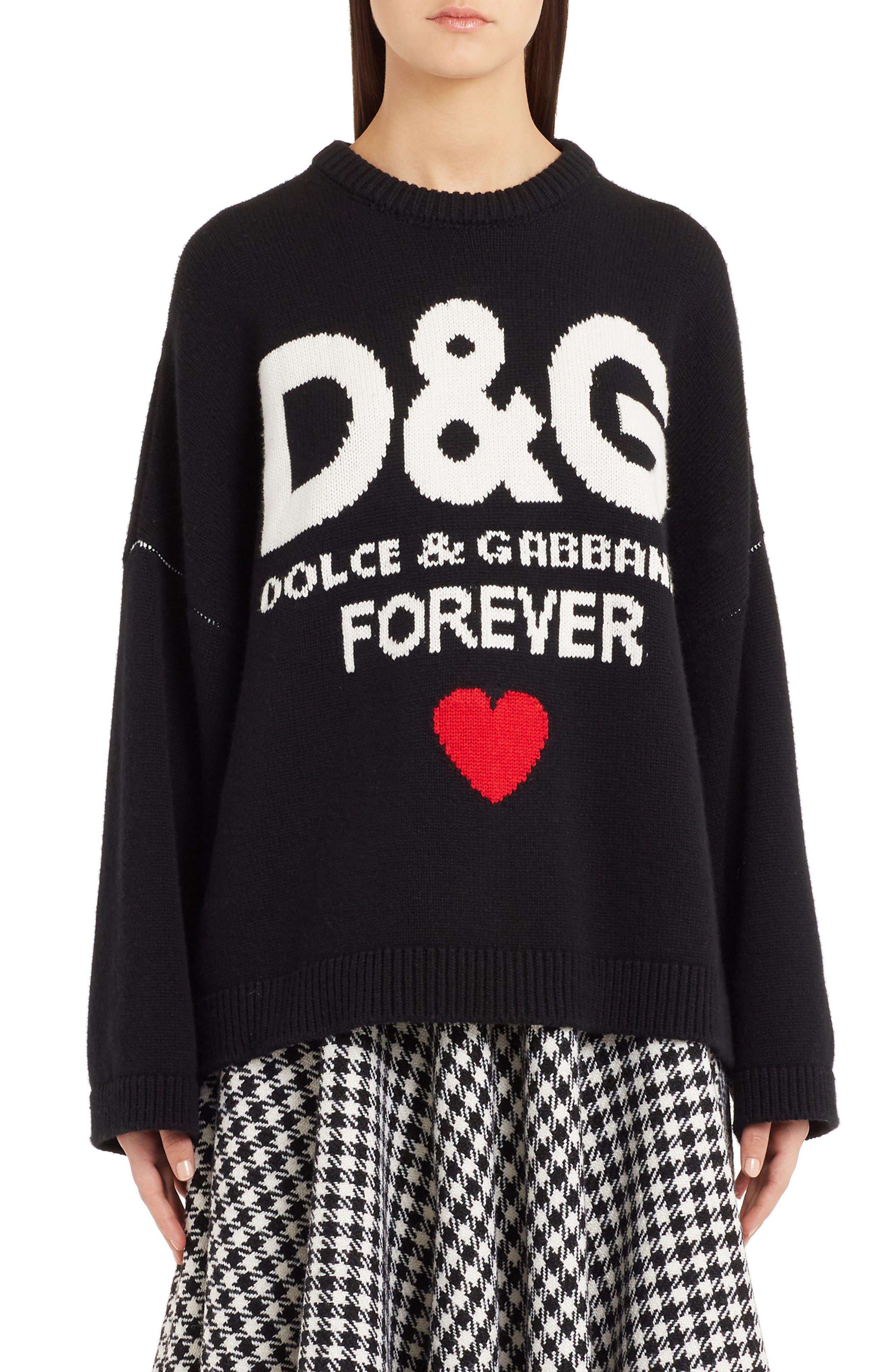 DOLCE&GABBANA Intarsia Logo Cashmere Sweater, Main, color, BLACK