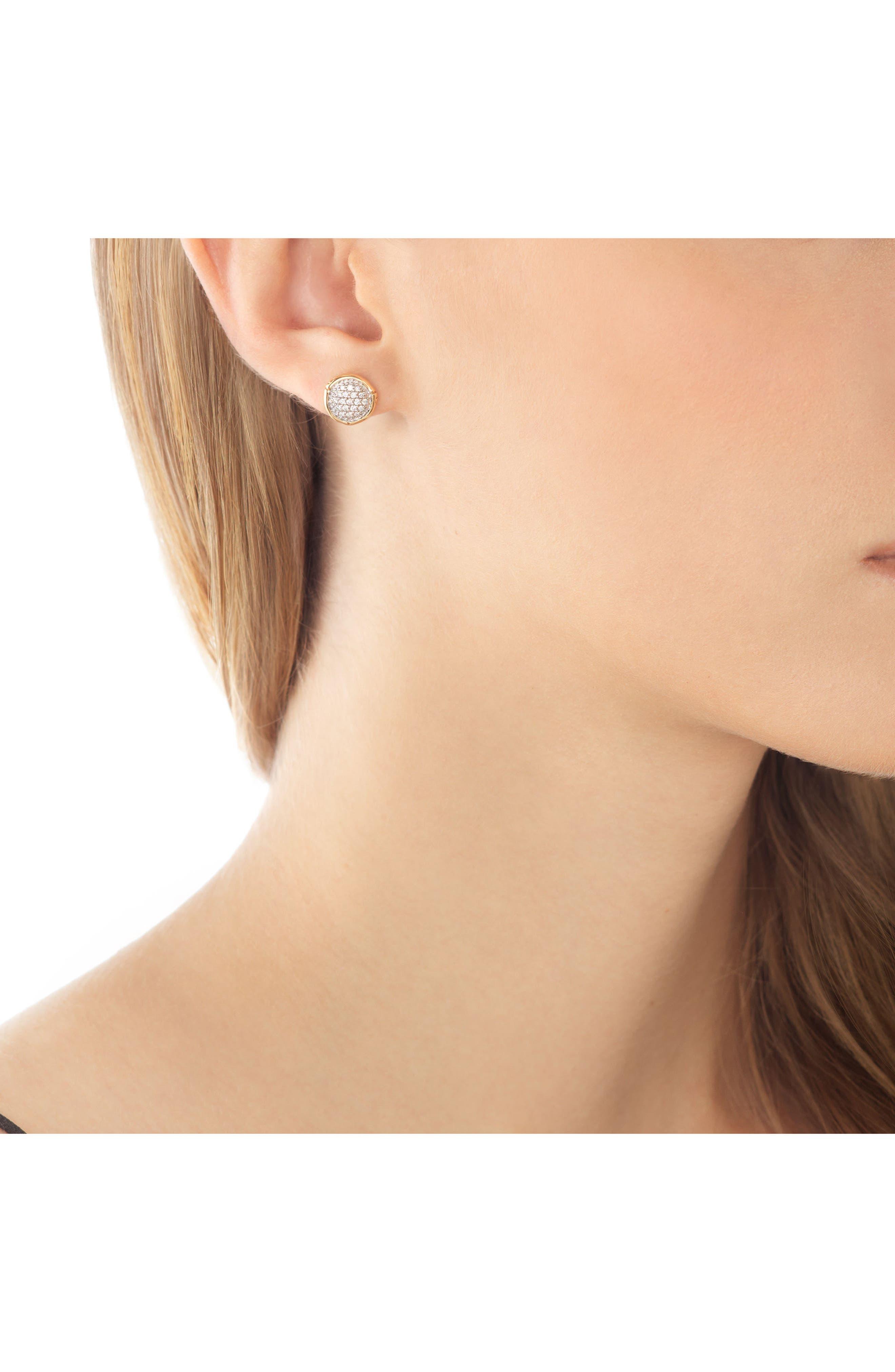 Bamboo Diamond & 18k Gold Stud Earrings,                             Alternate thumbnail 2, color,                             GOLD