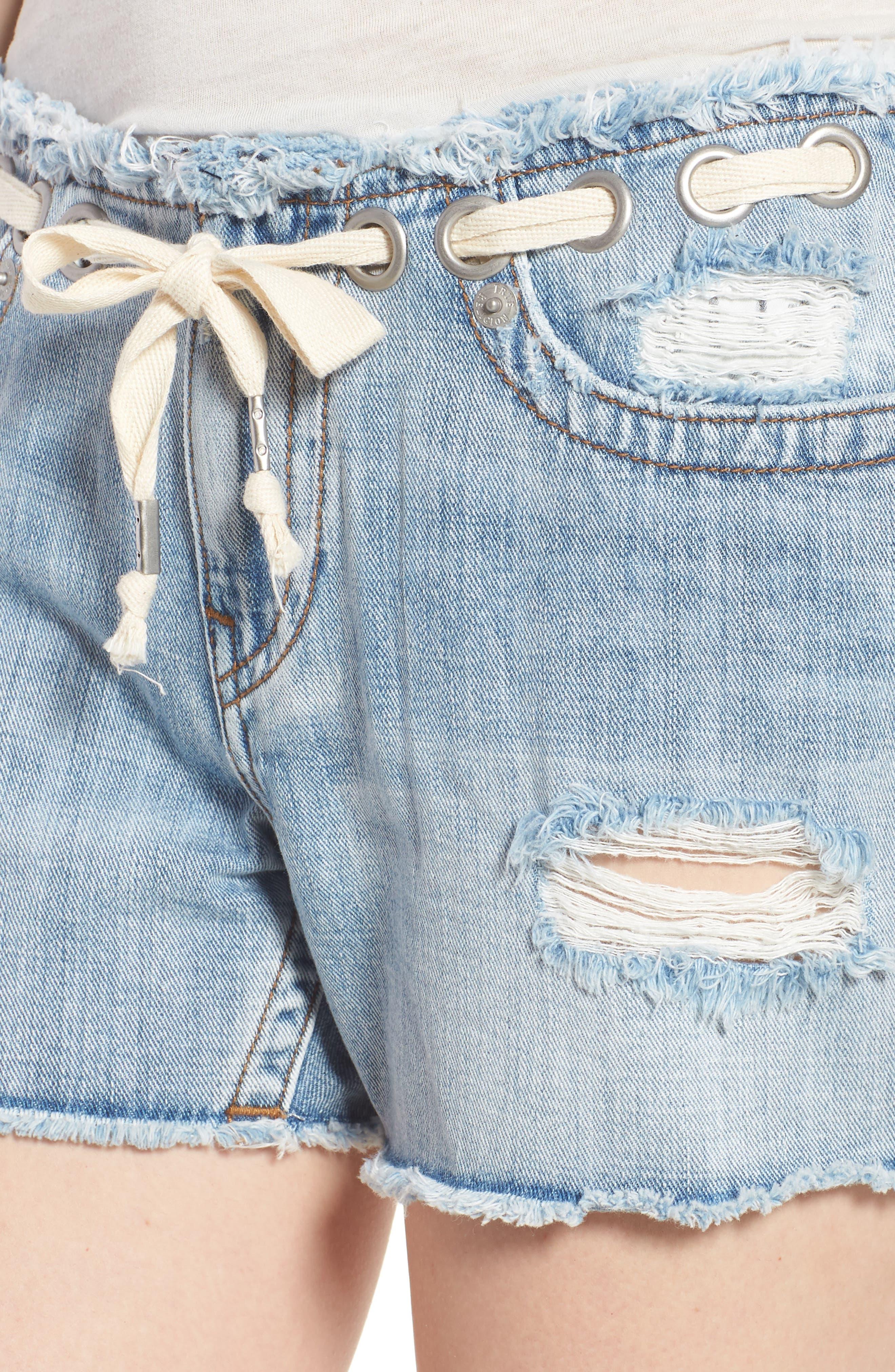 Fashion Distressed Denim Shorts,                             Alternate thumbnail 4, color,                             401