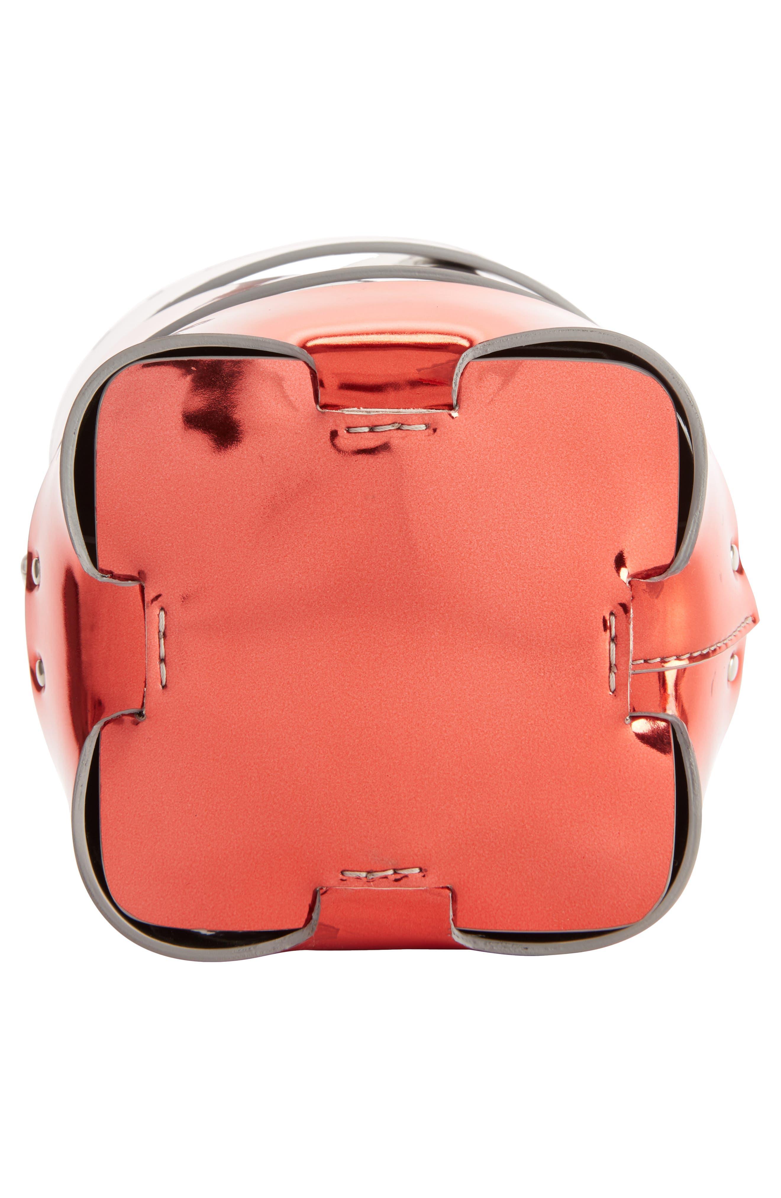 Mini Cage Dégradé Faux Leather Bucket Bag,                             Alternate thumbnail 4, color,                             SILVER/ RED