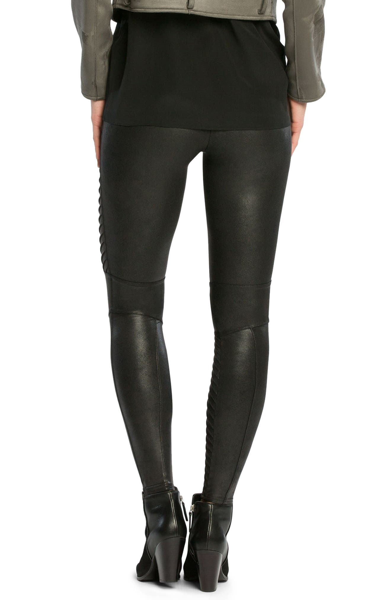 SPANX Faux Leather Moto Leggings,                             Alternate thumbnail 2, color,                             VERY BLACK