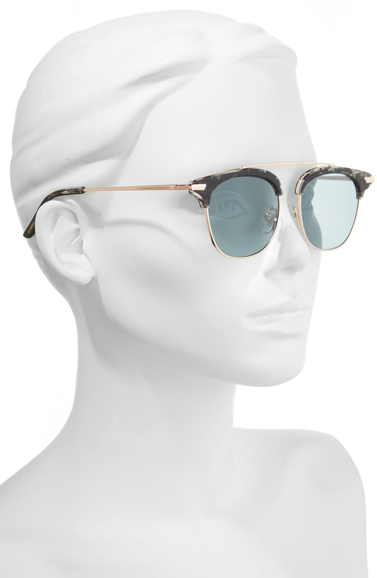 Midway 51mm Polarized Brow Bar Sunglasses,                             Alternate thumbnail 2, color,                             020
