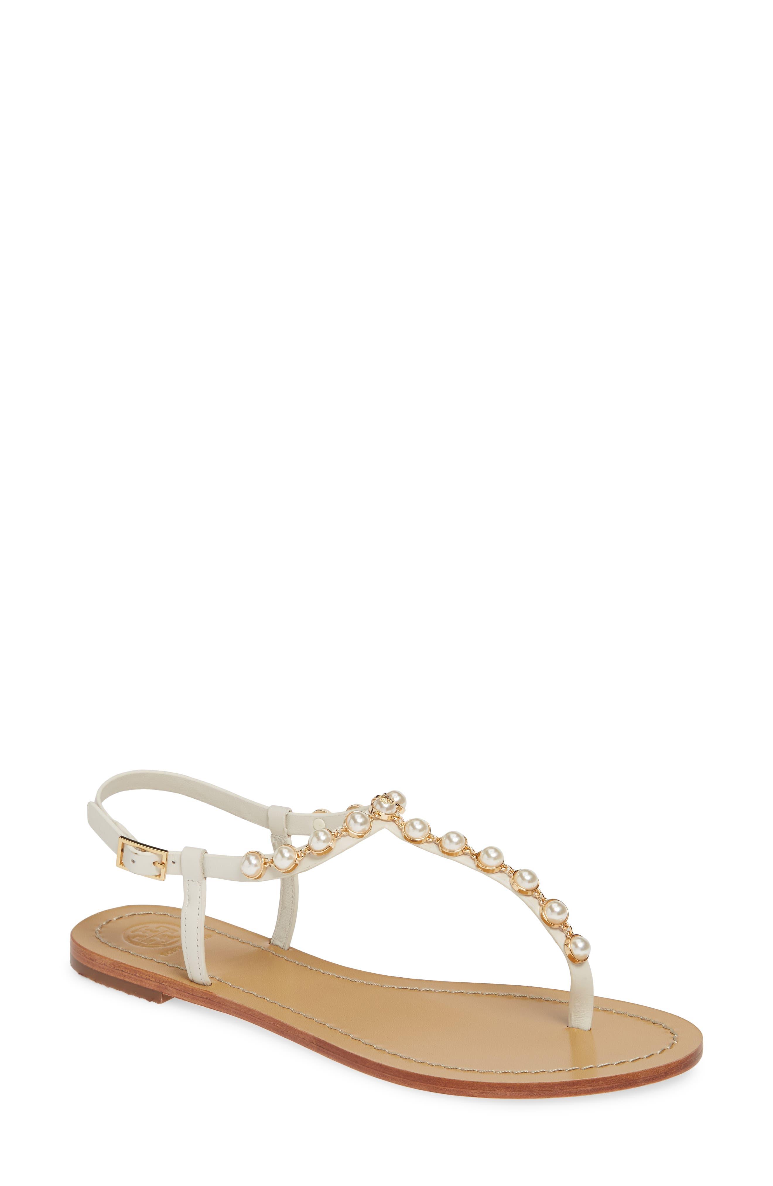 Tory Burch Emmy Embellished T-Strap Sandal, White