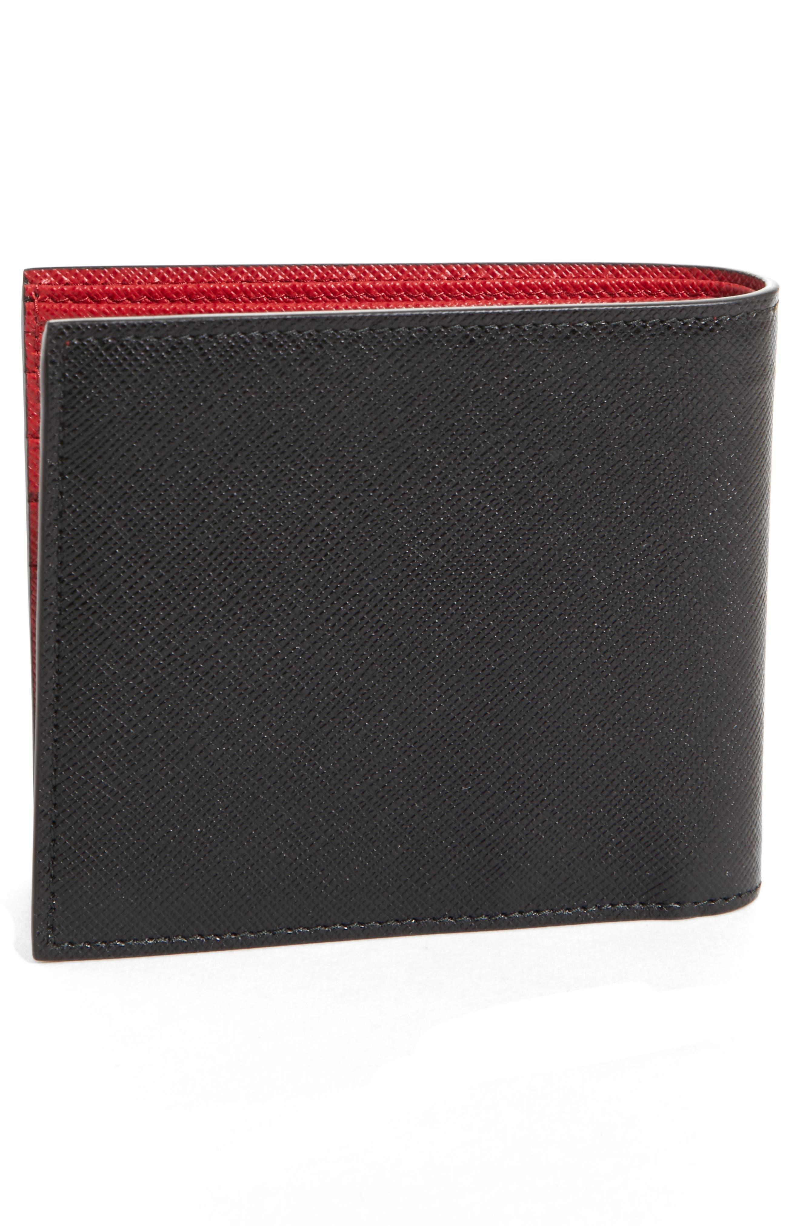 Bicolor Leather Wallet,                             Alternate thumbnail 3, color,                             001