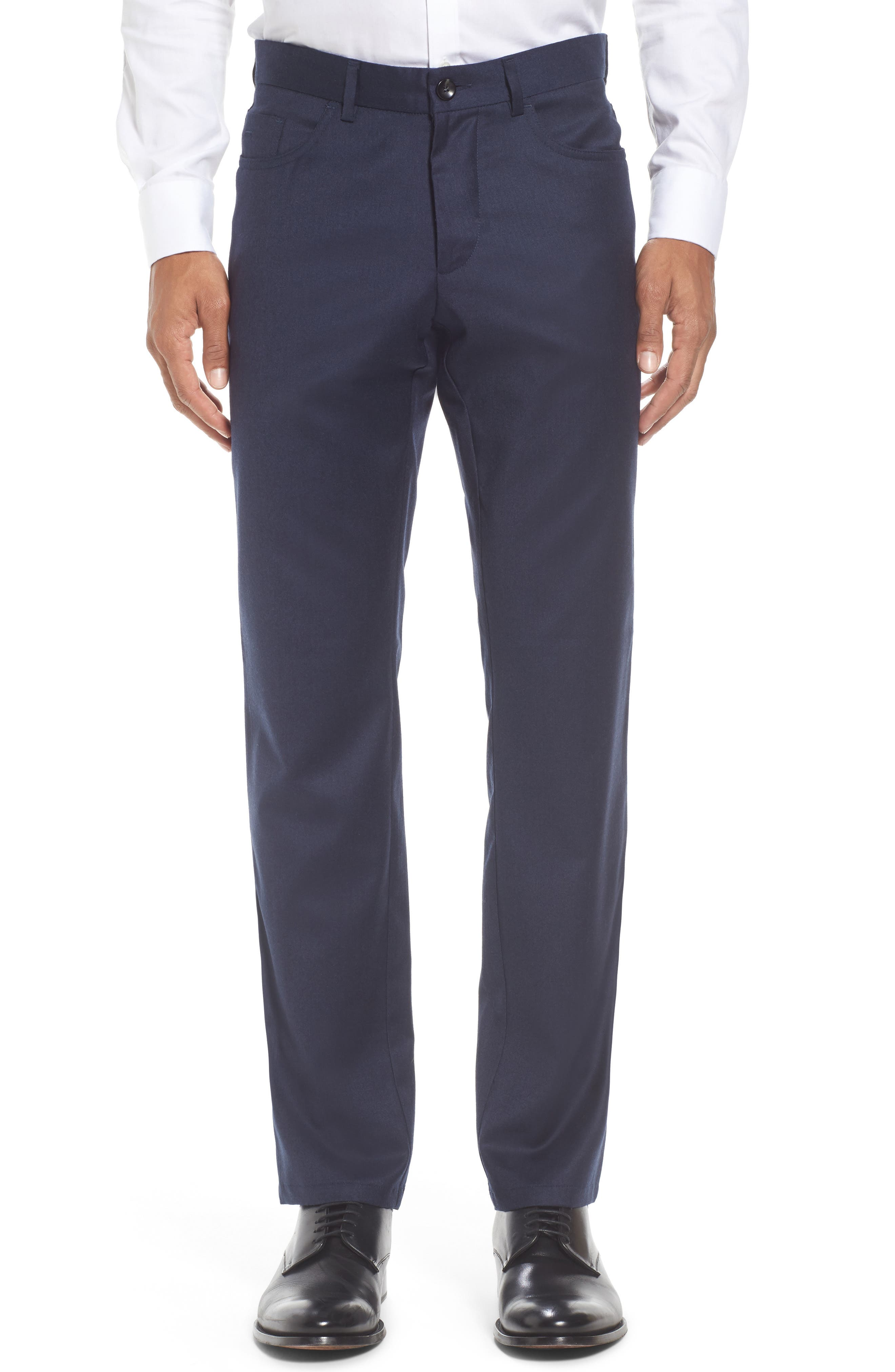 Flat Front Solid Stretch Wool Trousers,                             Main thumbnail 3, color,