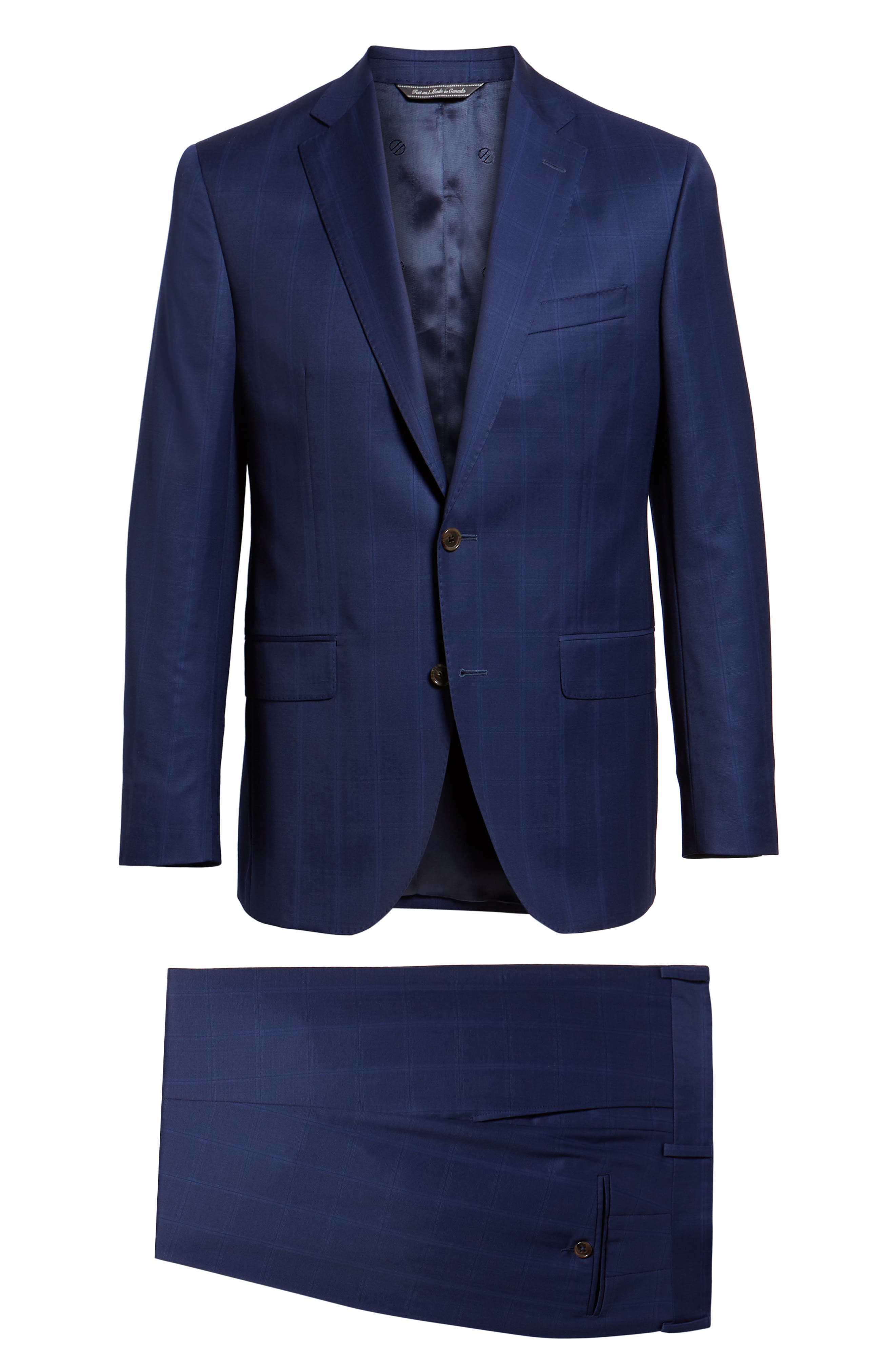 DAVID DONAHUE,                             Ryan Classic Fit Windowpane Wool Suit,                             Alternate thumbnail 8, color,                             400