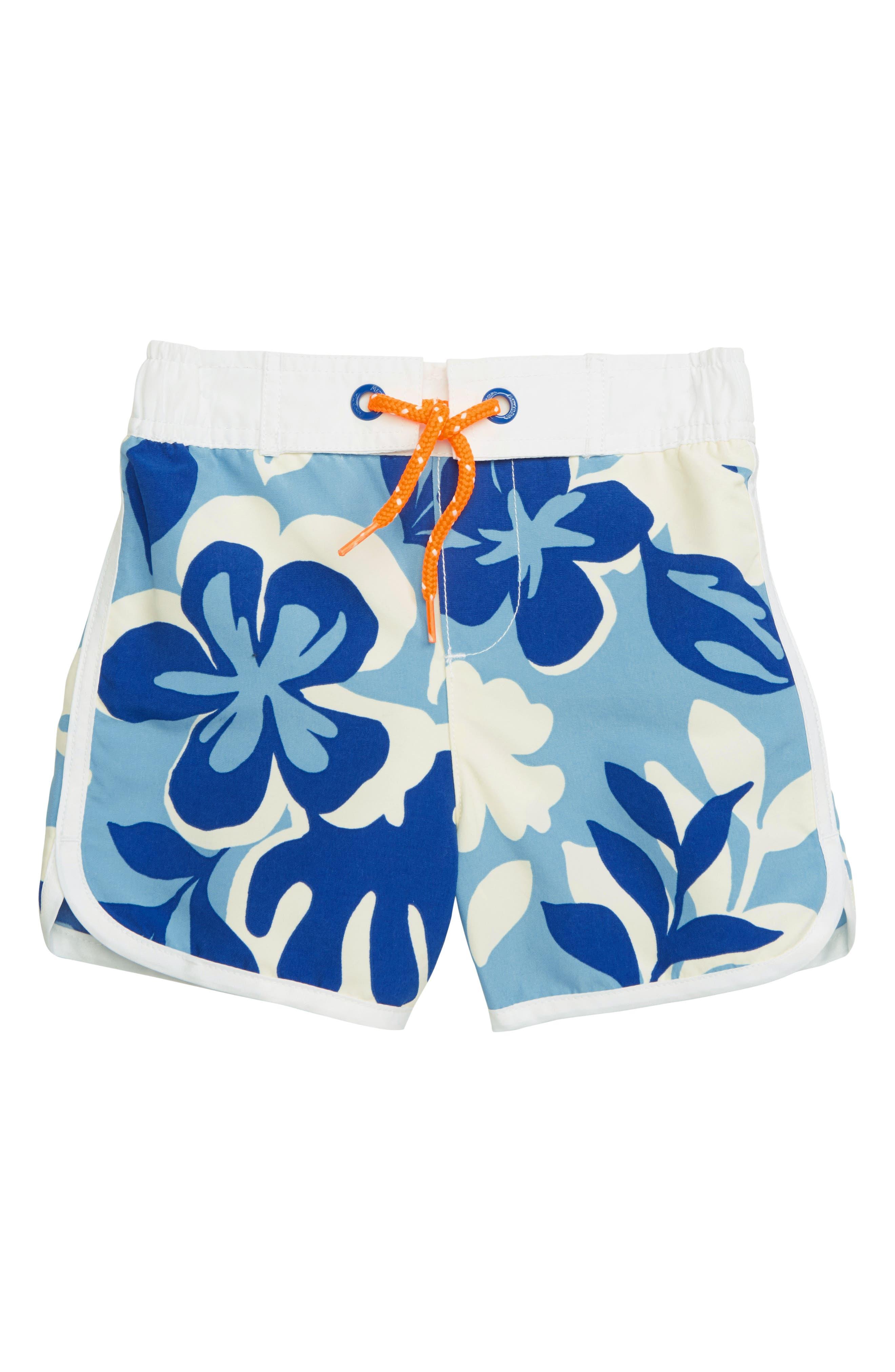Toddler Boys Mini Boden Surf Hawaiian Swim Trunks Size 34Y  Blue