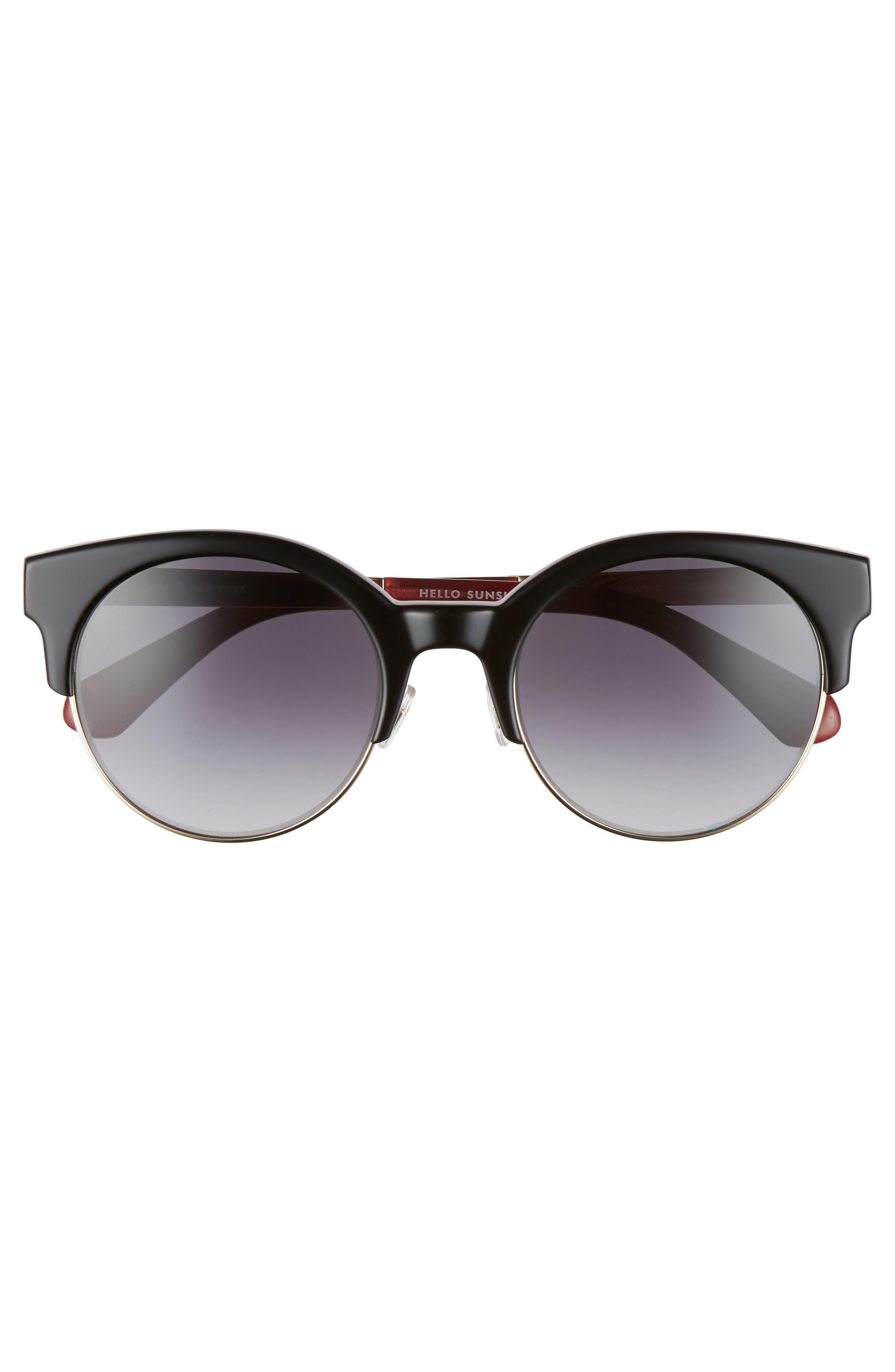 kaileen 52mm semi-rimless cat eye sunglasses,                             Alternate thumbnail 3, color,                             001