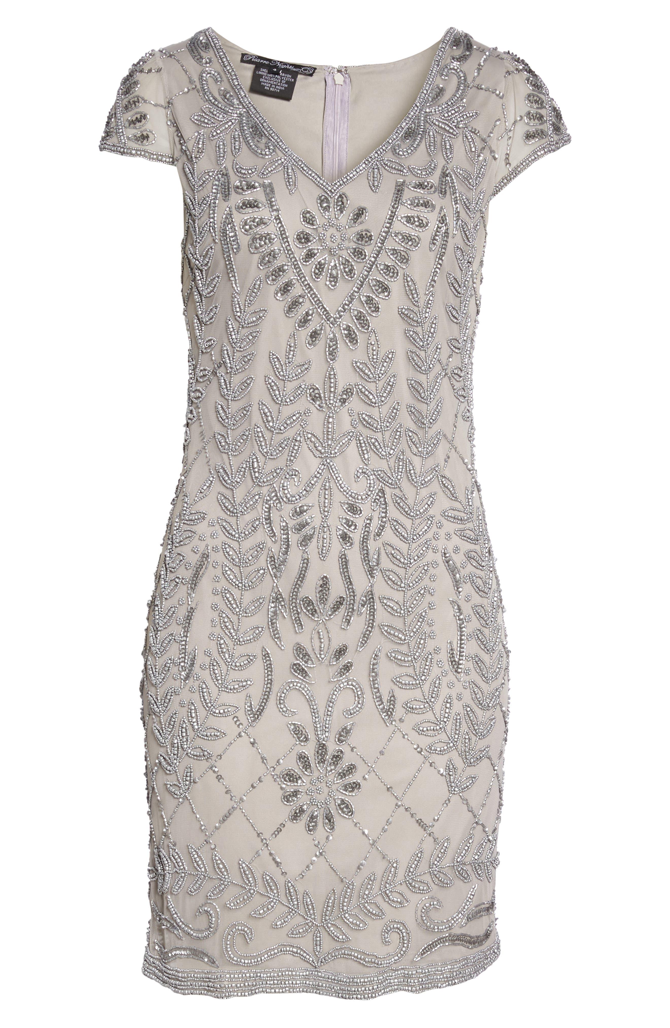 Beaded Sheath Dress,                             Alternate thumbnail 6, color,                             SILVER