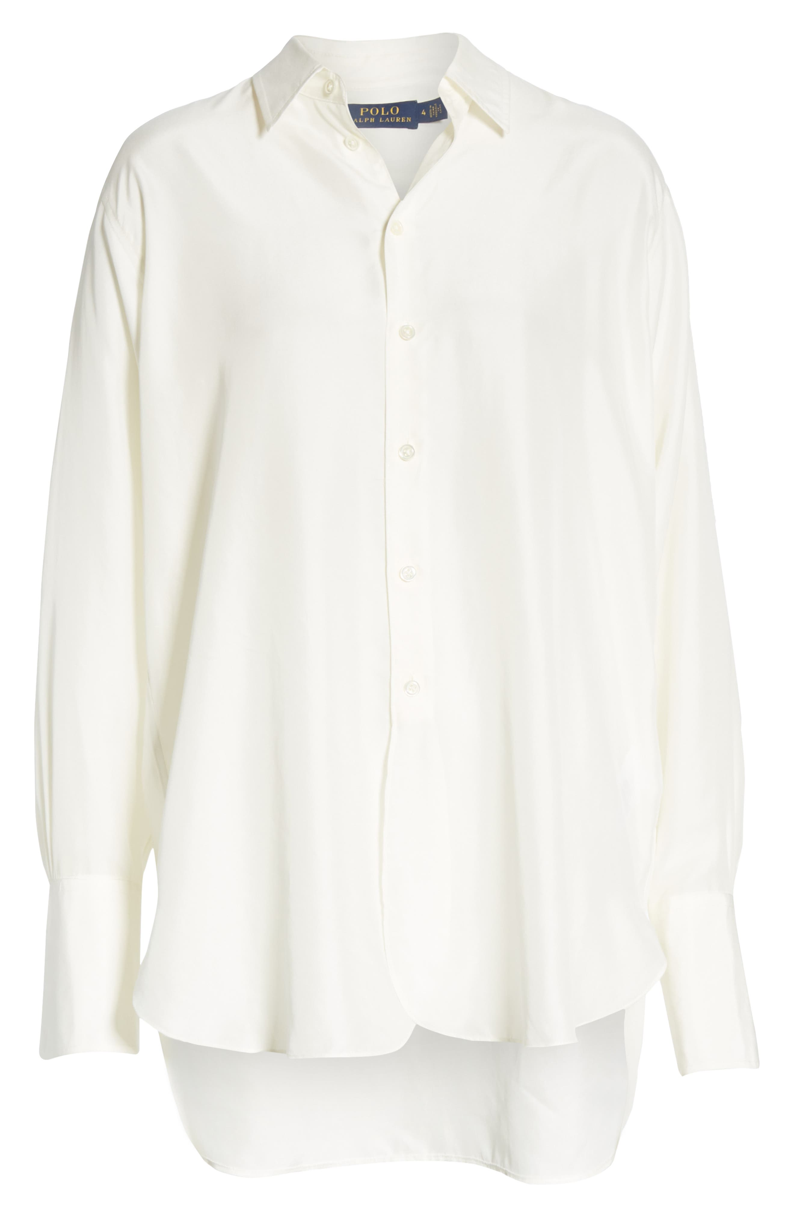 POLO RALPH LAUREN,                             High/Low Silk Shirt,                             Alternate thumbnail 6, color,                             100