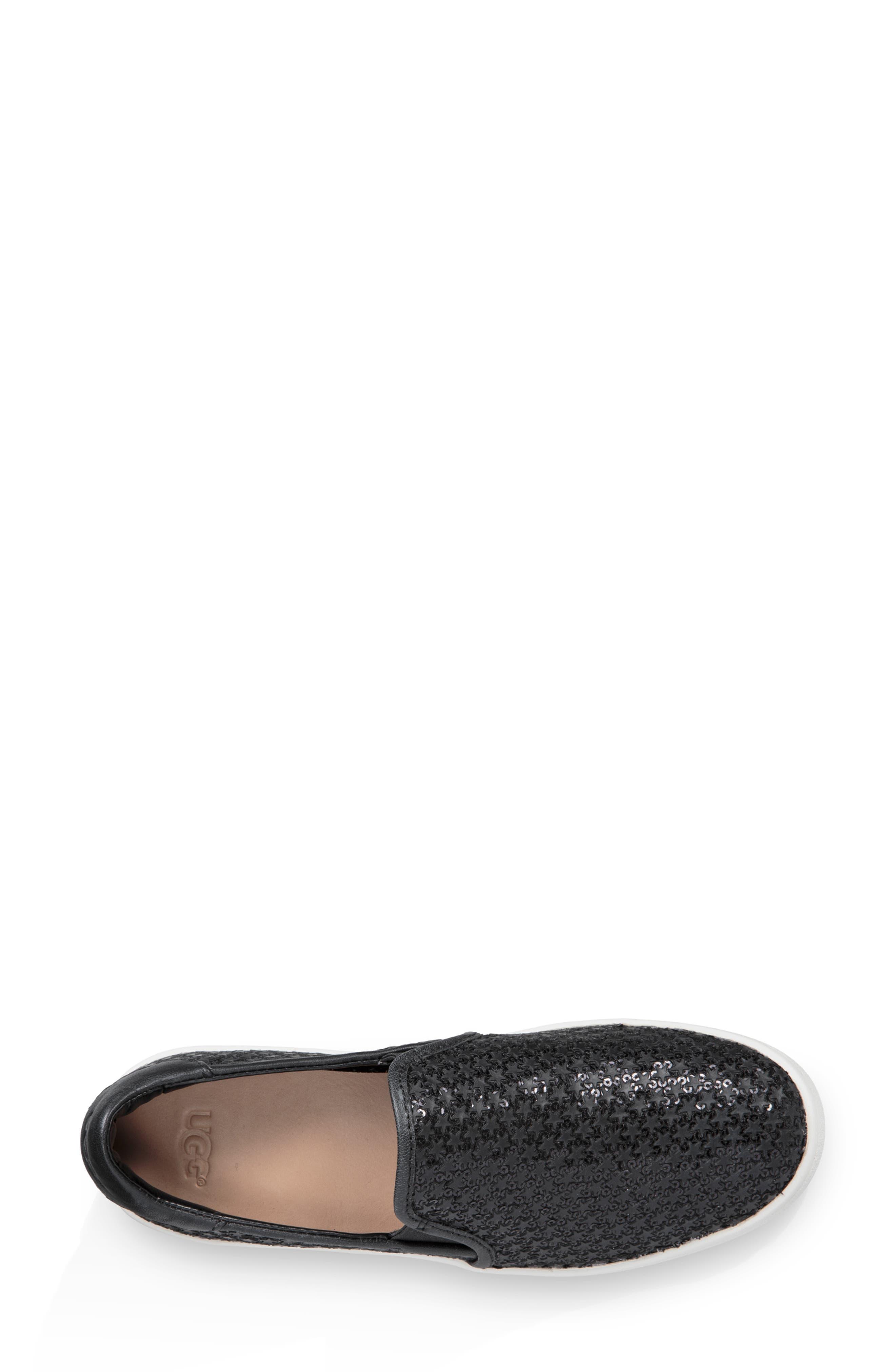Cas Glitter Sneaker,                             Alternate thumbnail 4, color,                             BLACK