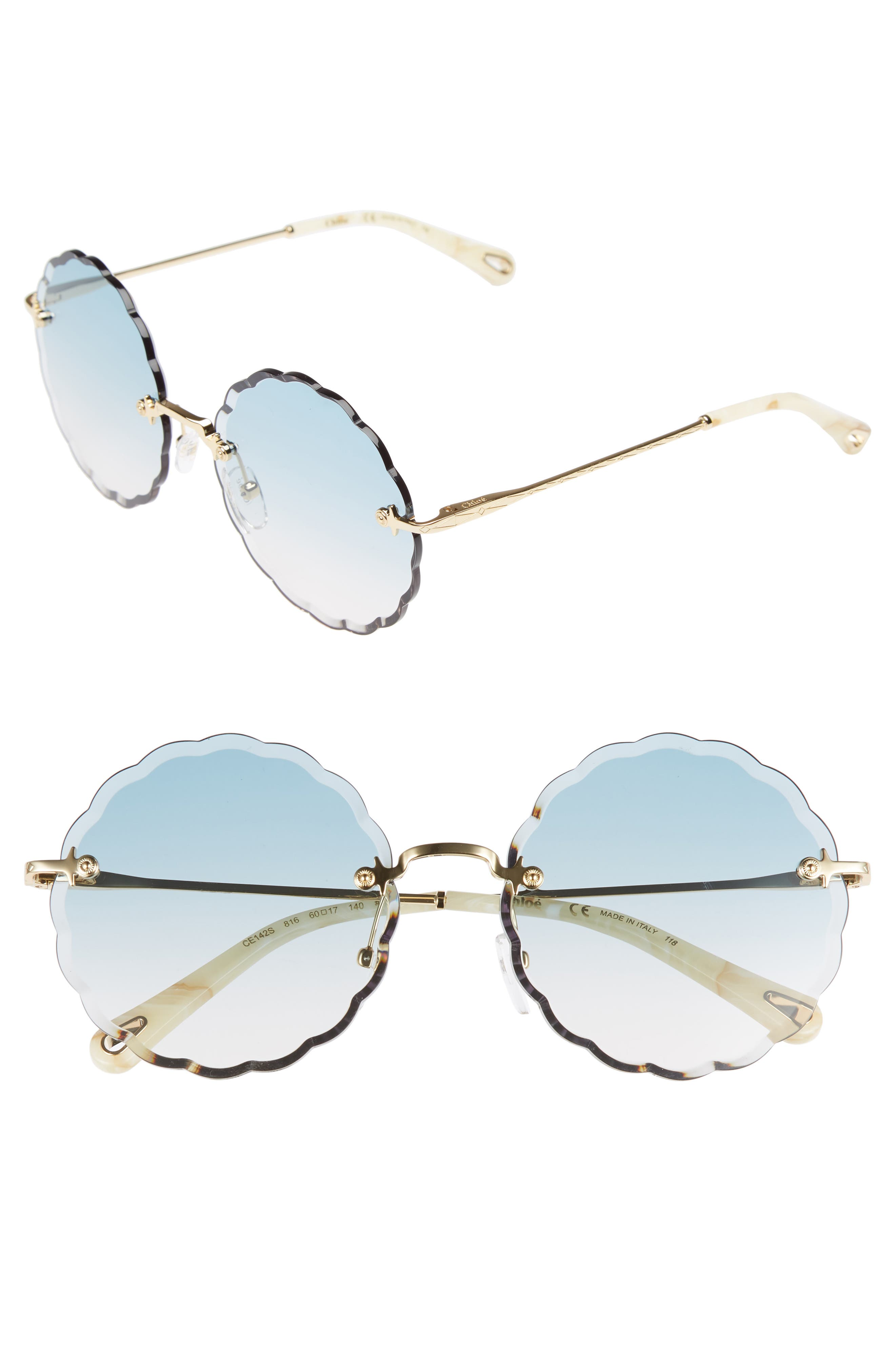 Rosie 60mm Scalloped Rimless Sunglasses,                         Main,                         color, GOLD/ GRADIENT BLUE