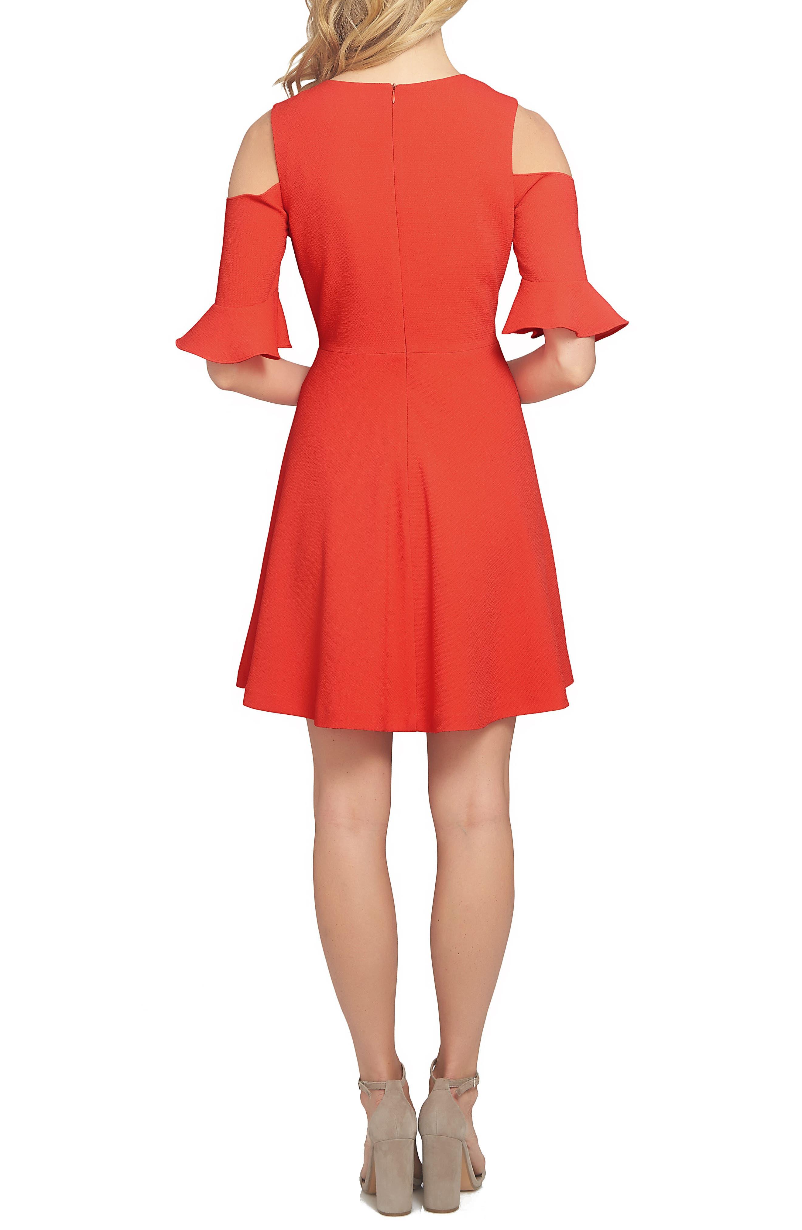 Emily Cold Shoulder Fit & Flare Dress,                             Alternate thumbnail 2, color,                             895