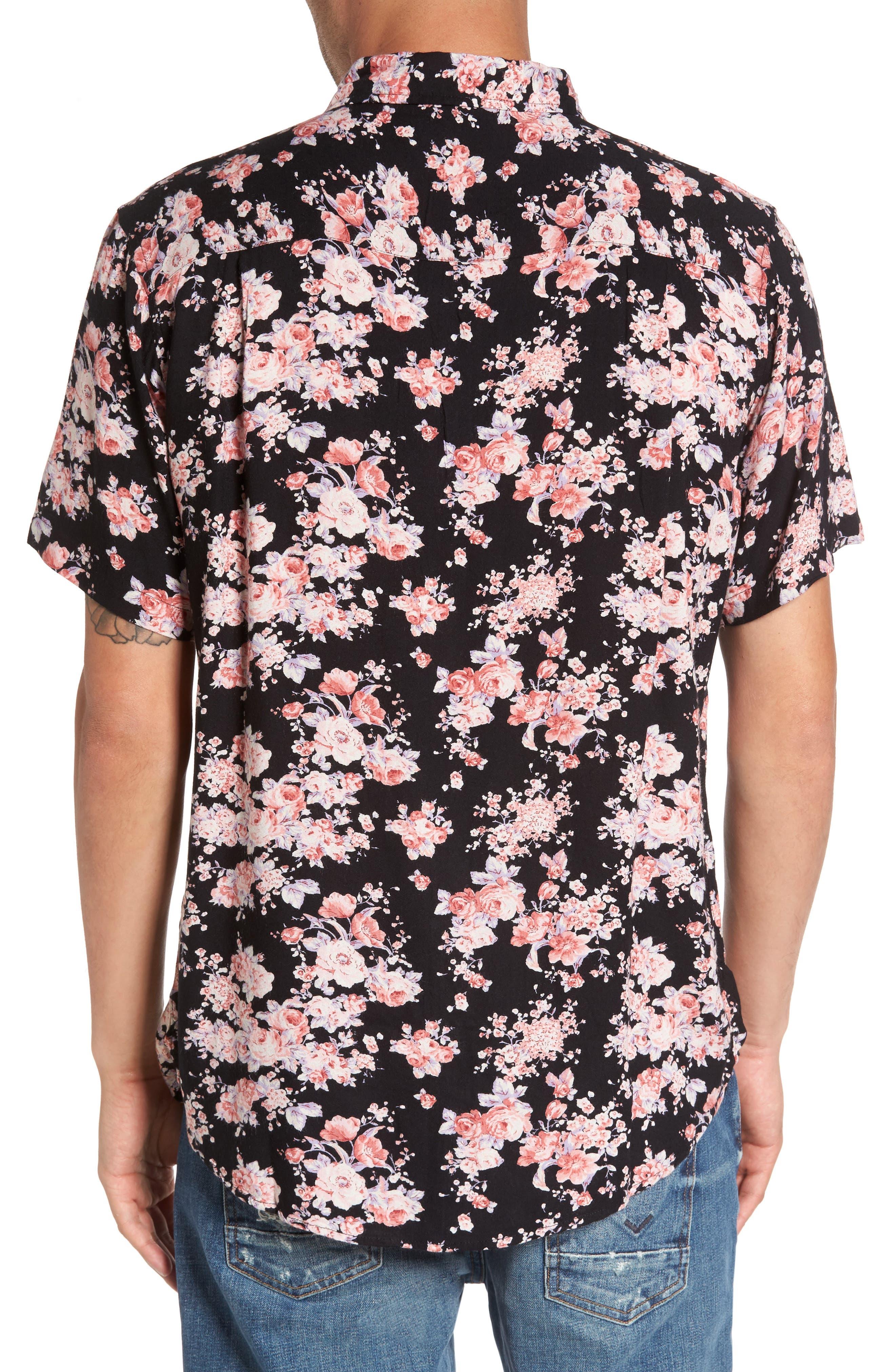 Flora Trim Fit Woven Shirt,                             Alternate thumbnail 2, color,                             001