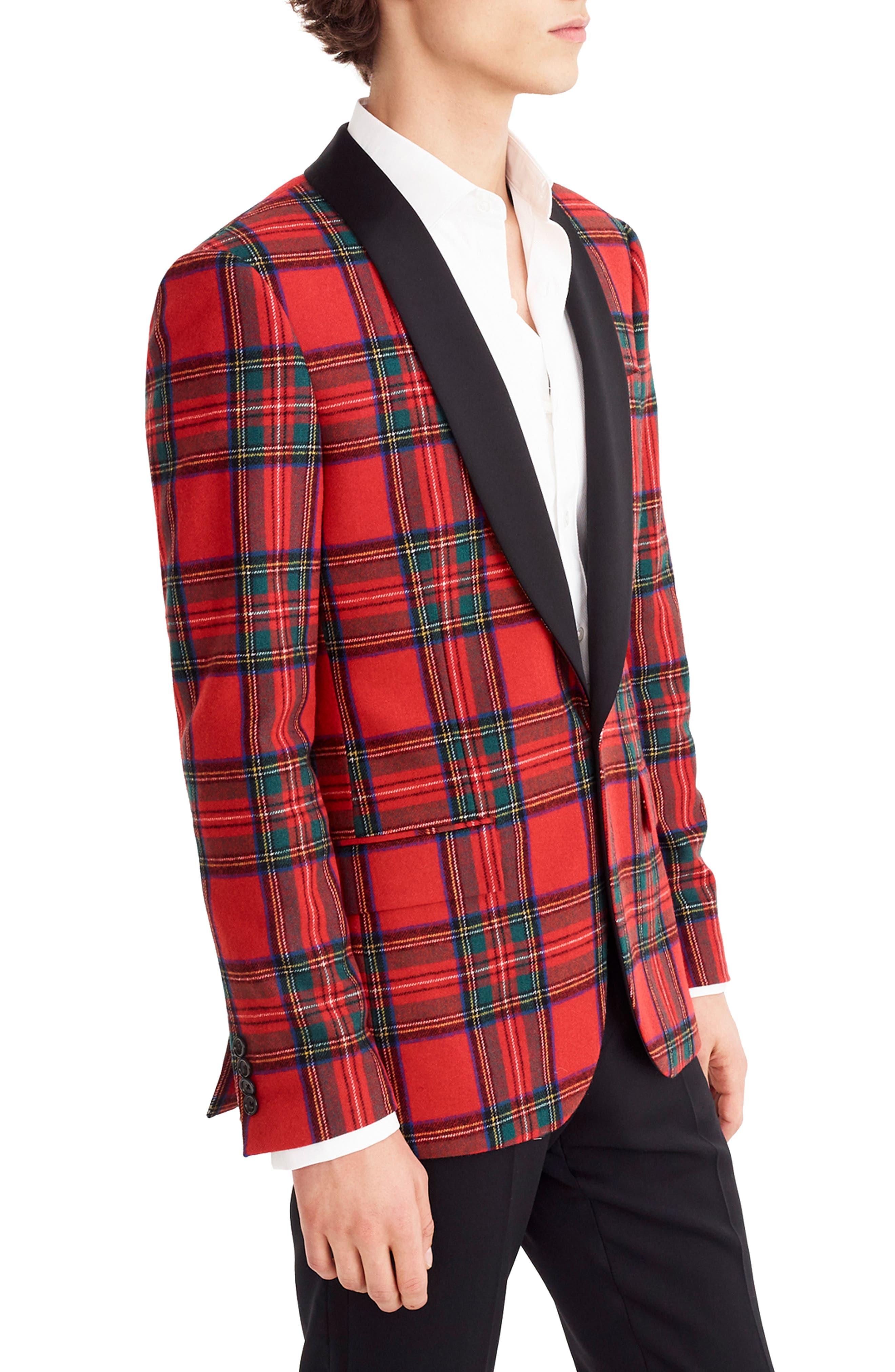 J.CREW,                             Ludlow Slim Fit Tartan Wool Blend Dinner Jacket,                             Alternate thumbnail 3, color,                             600
