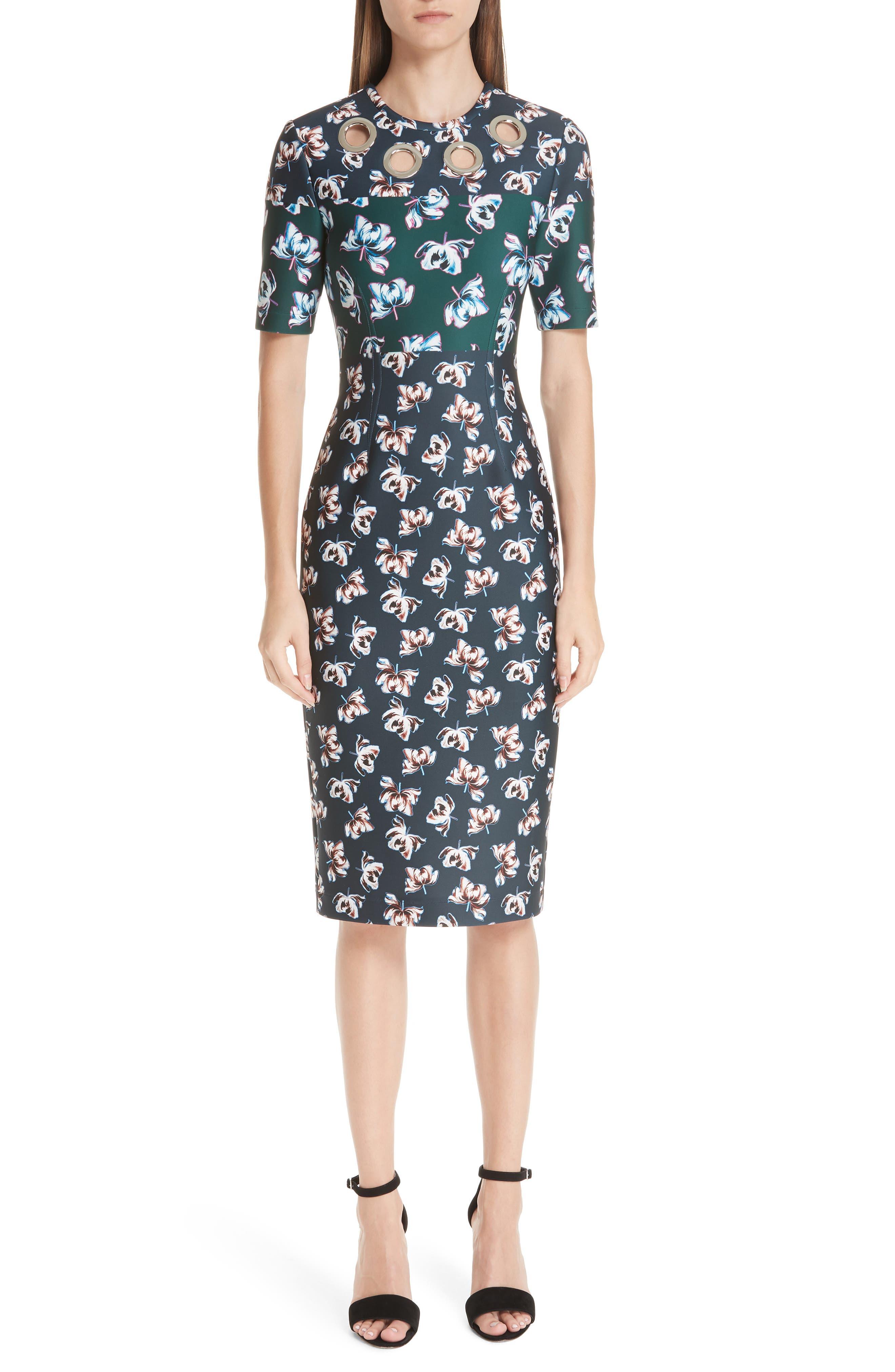 Yigal Azrouel Floral Print Scuba Body-Con Dress