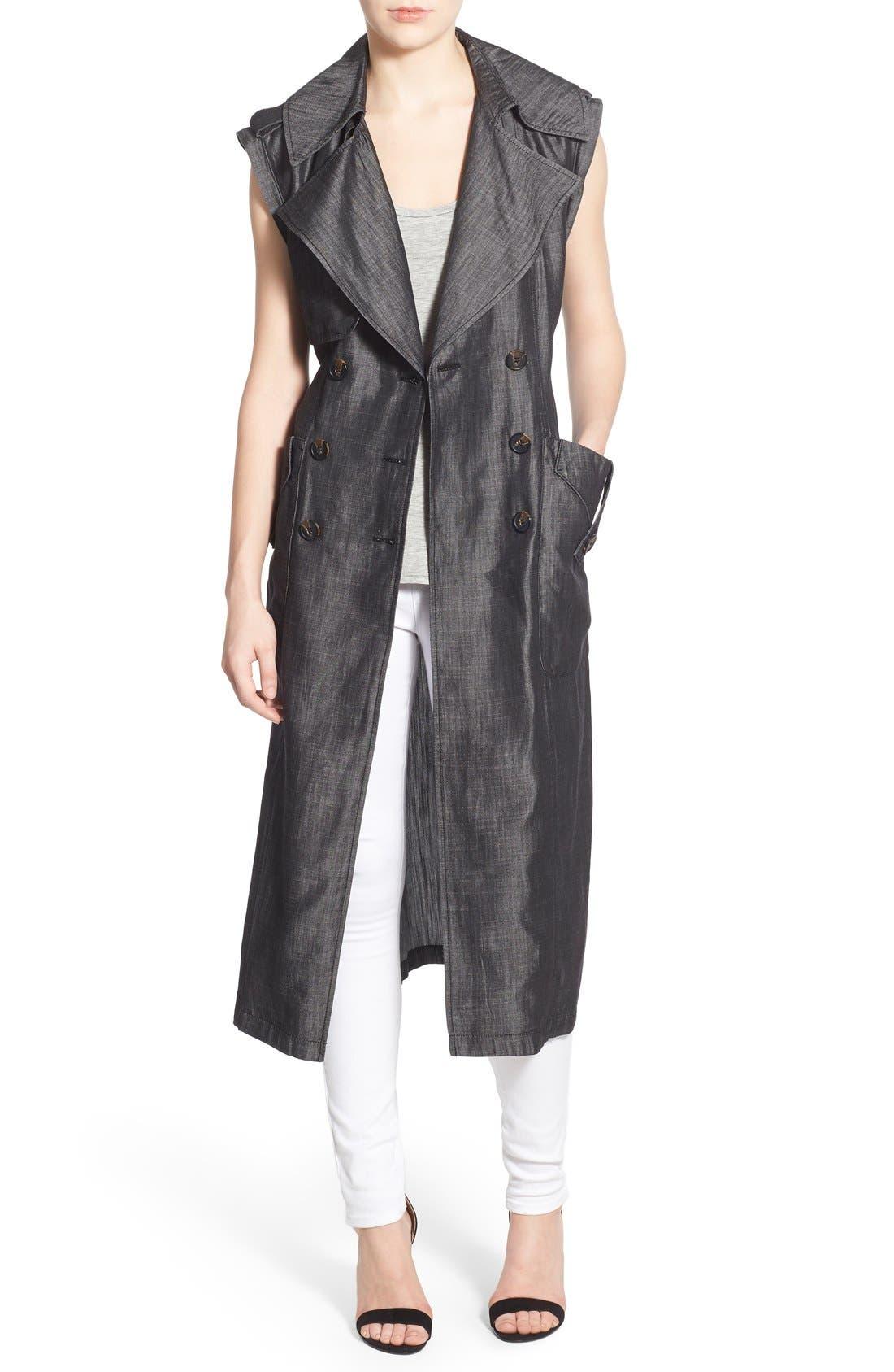 Chambray Long Draped Vest,                             Main thumbnail 1, color,                             020