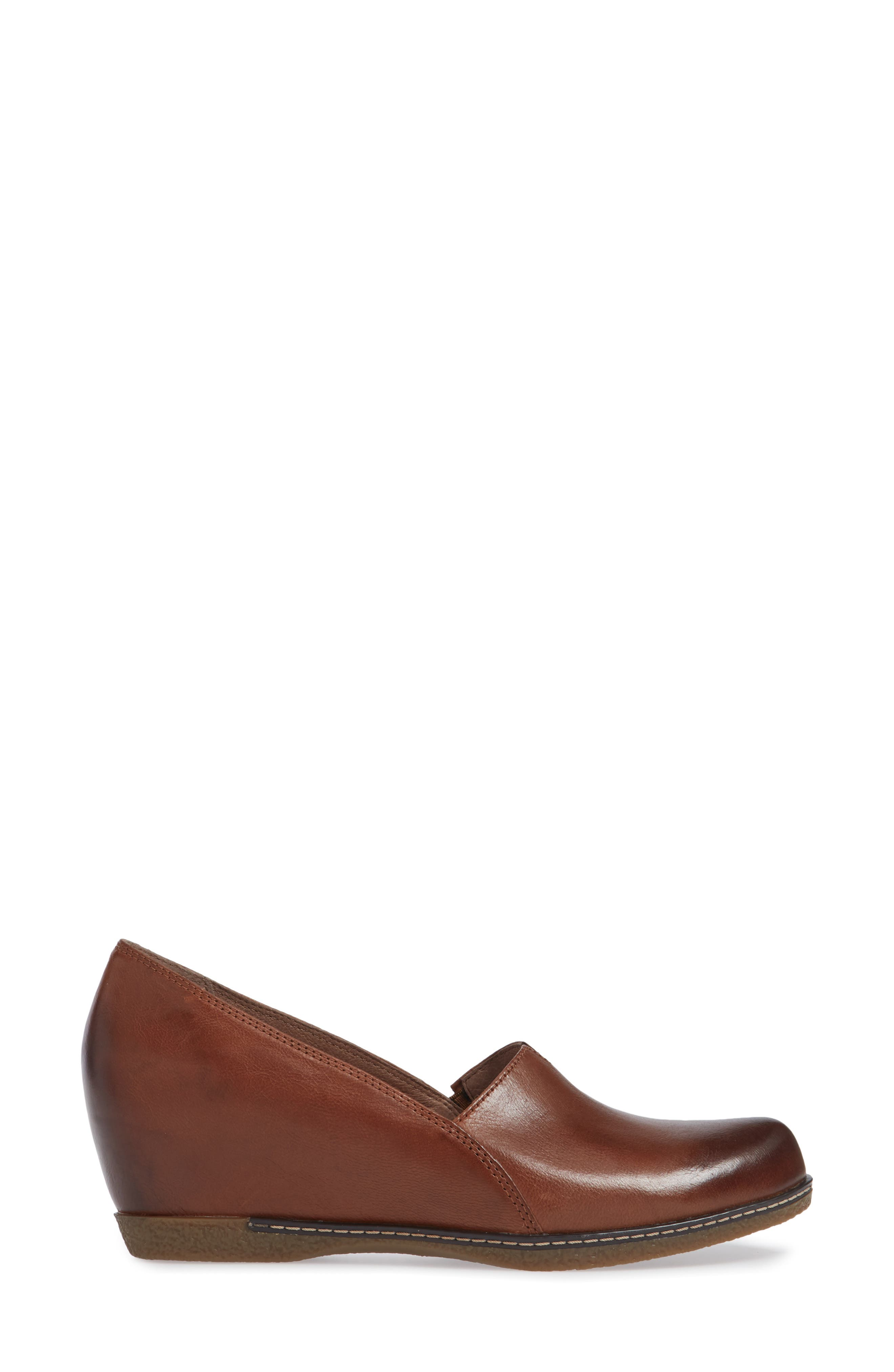 Liliana Concealed Wedge Slip-On,                             Alternate thumbnail 3, color,                             CHESTNUT BURNISHED LEATHER