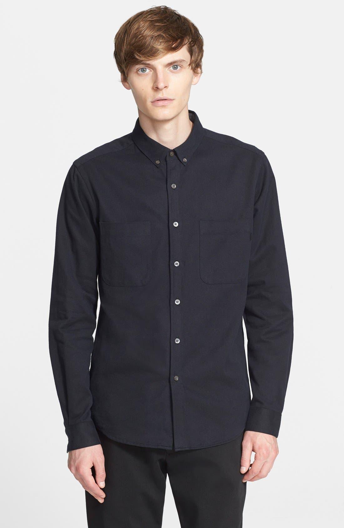 PATRIK ERVELL Heavyweight Cotton Oxford Shirt, Main, color, 001