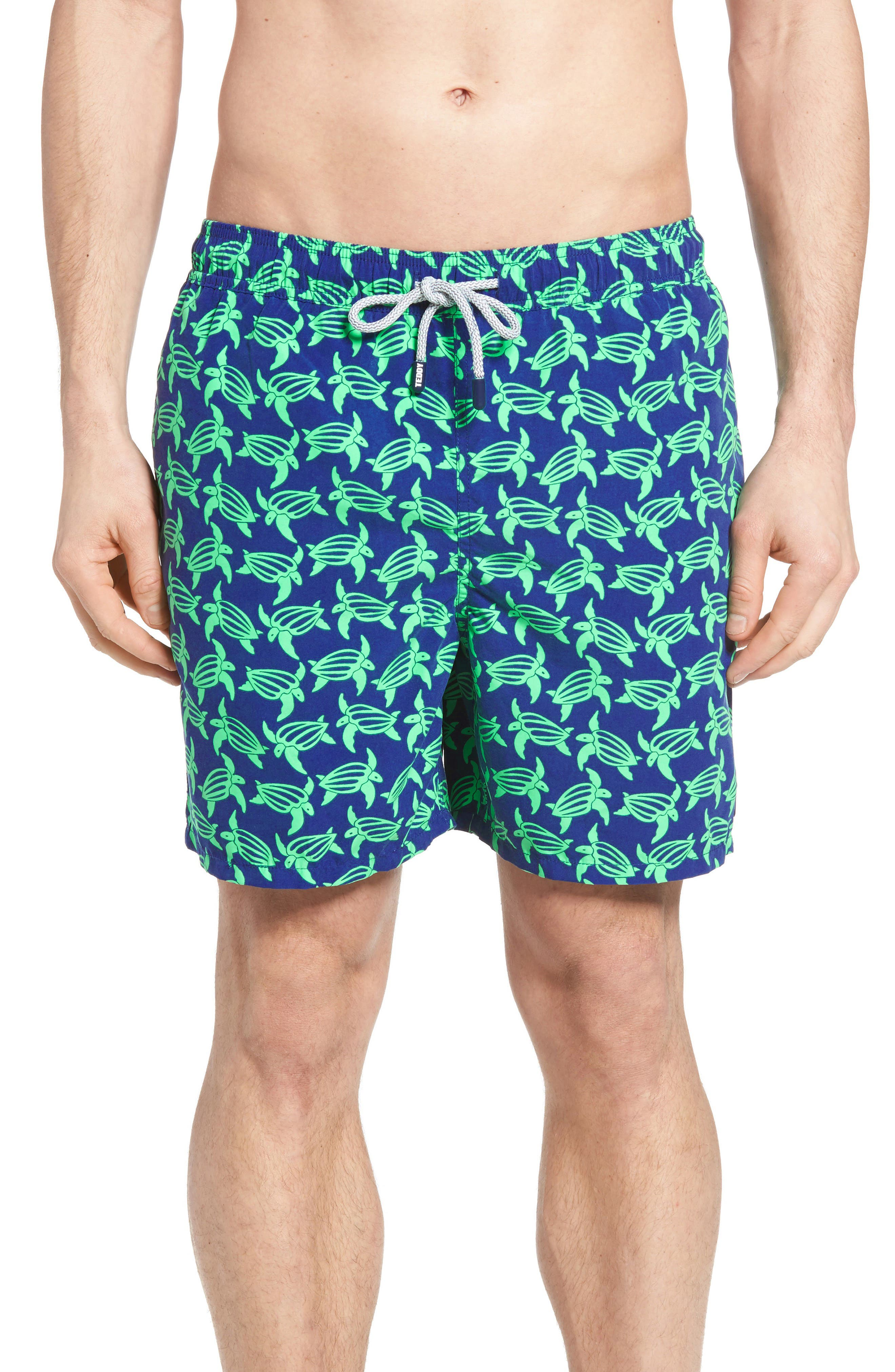 Turtle Print Swim Trunks,                         Main,                         color, NAVY GREEN