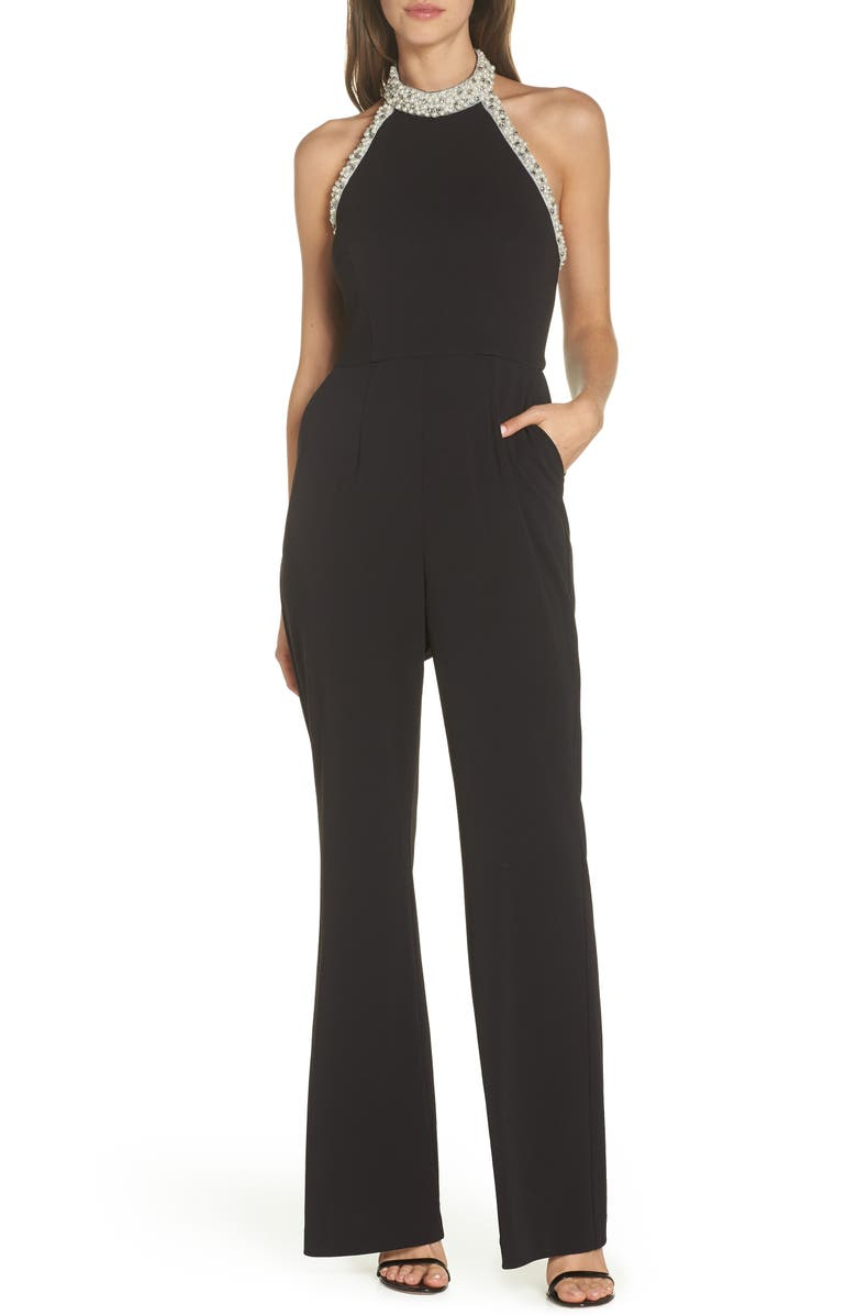 c87056675463 Adrianna Papell Beaded-Halter Jumpsuit In Black | ModeSens