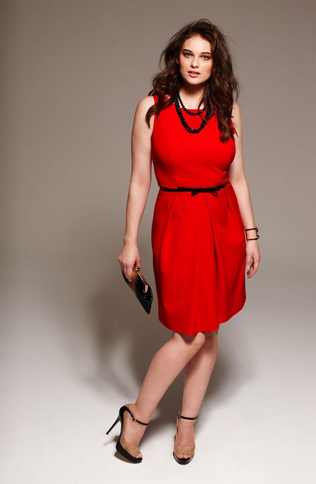 Belted A-Line Dress,                             Alternate thumbnail 4, color,                             600