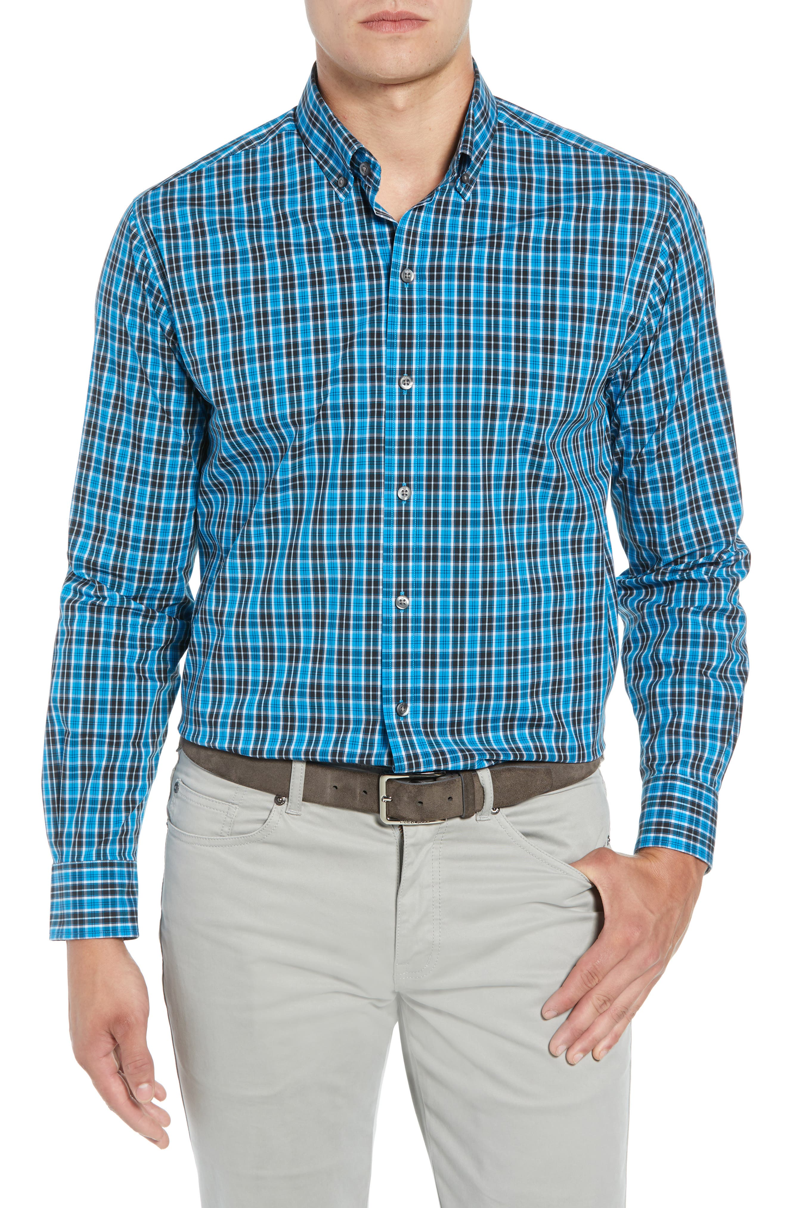 Ronald Regular Fit Plaid Performance Sport Shirt,                             Main thumbnail 1, color,                             ORBIT