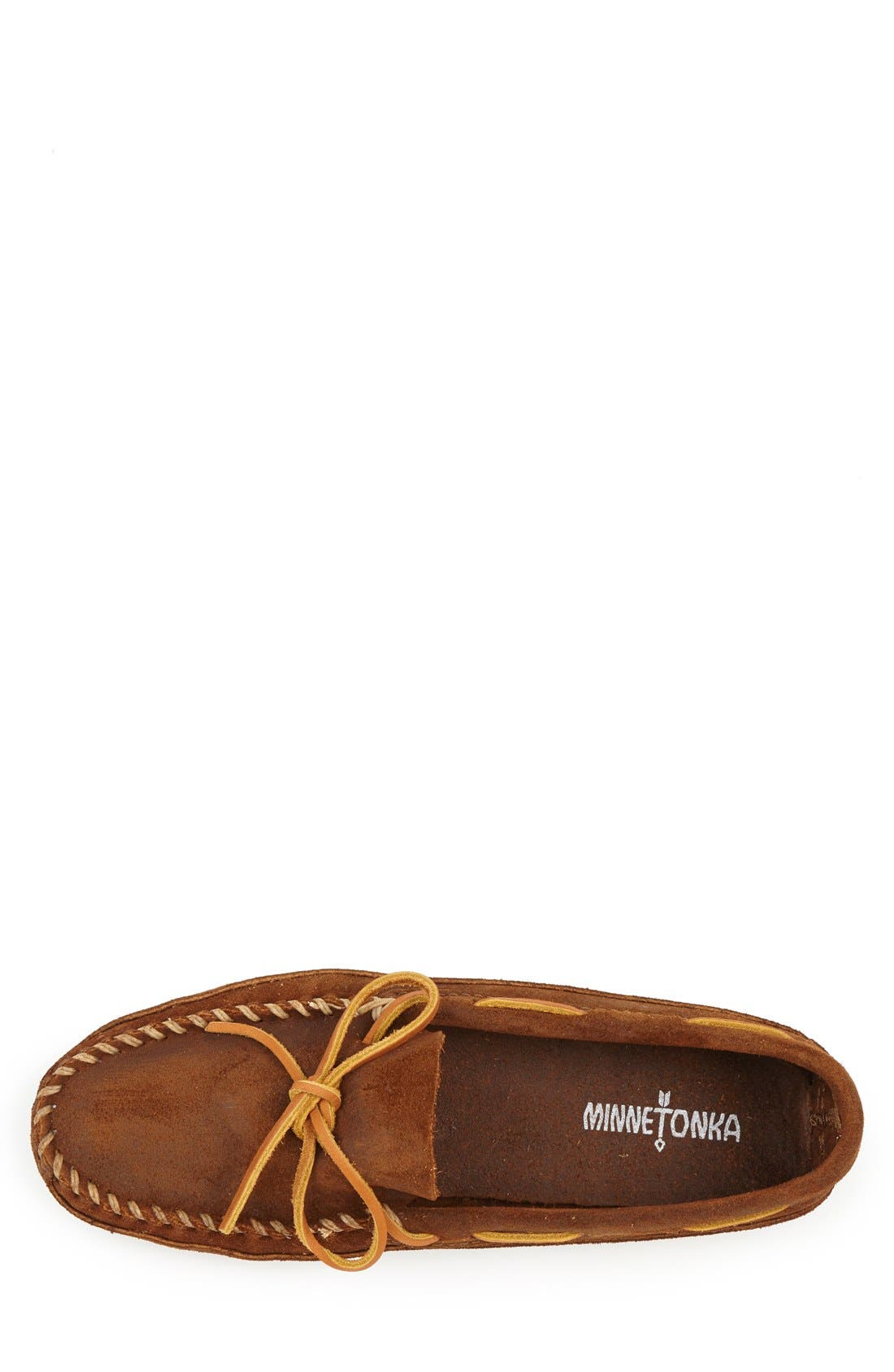 Suede Sole Moccasin,                             Alternate thumbnail 3, color,                             BROWN