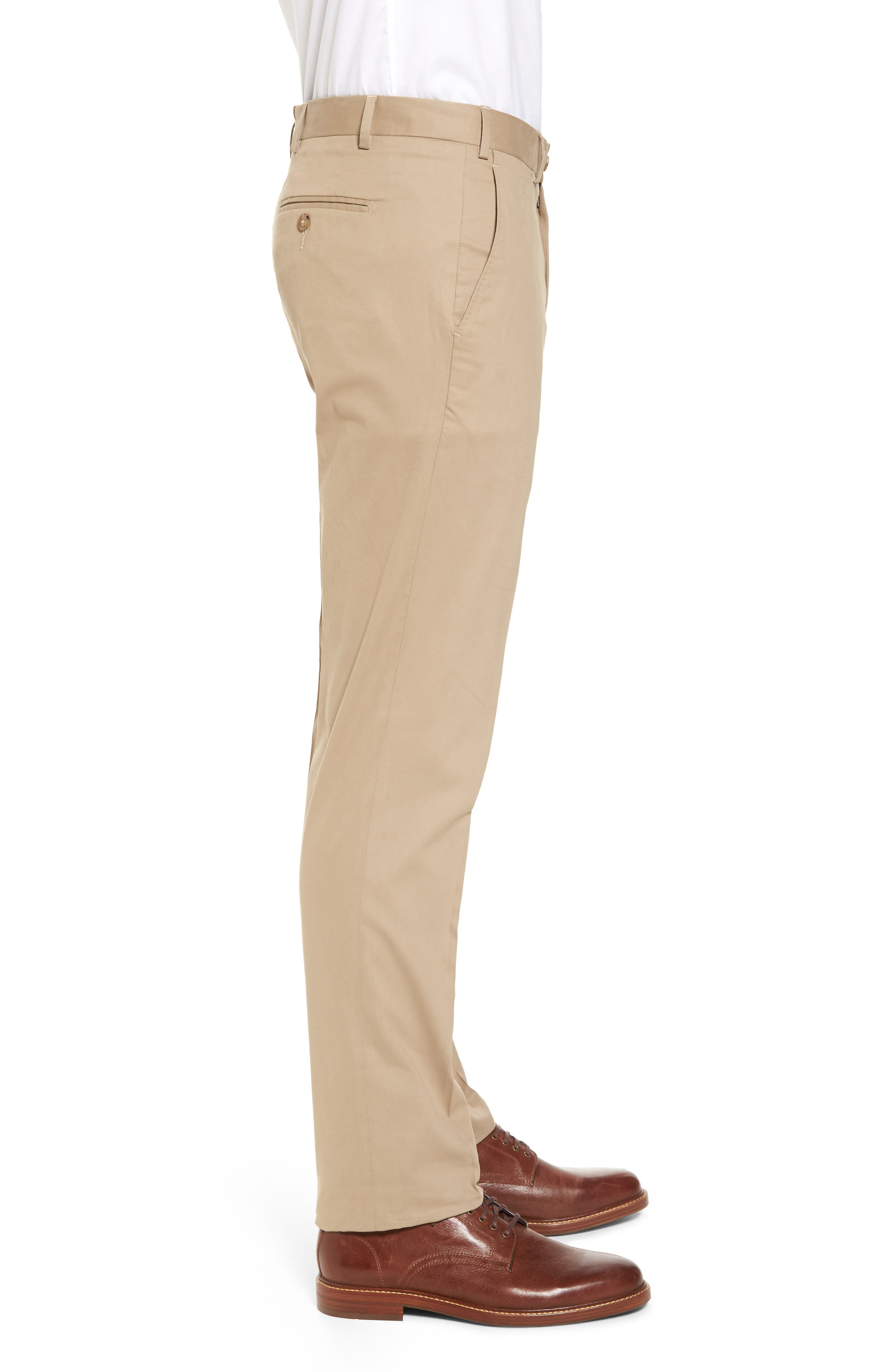 Perfect Flat Front Poplin Pants,                             Alternate thumbnail 3, color,                             260