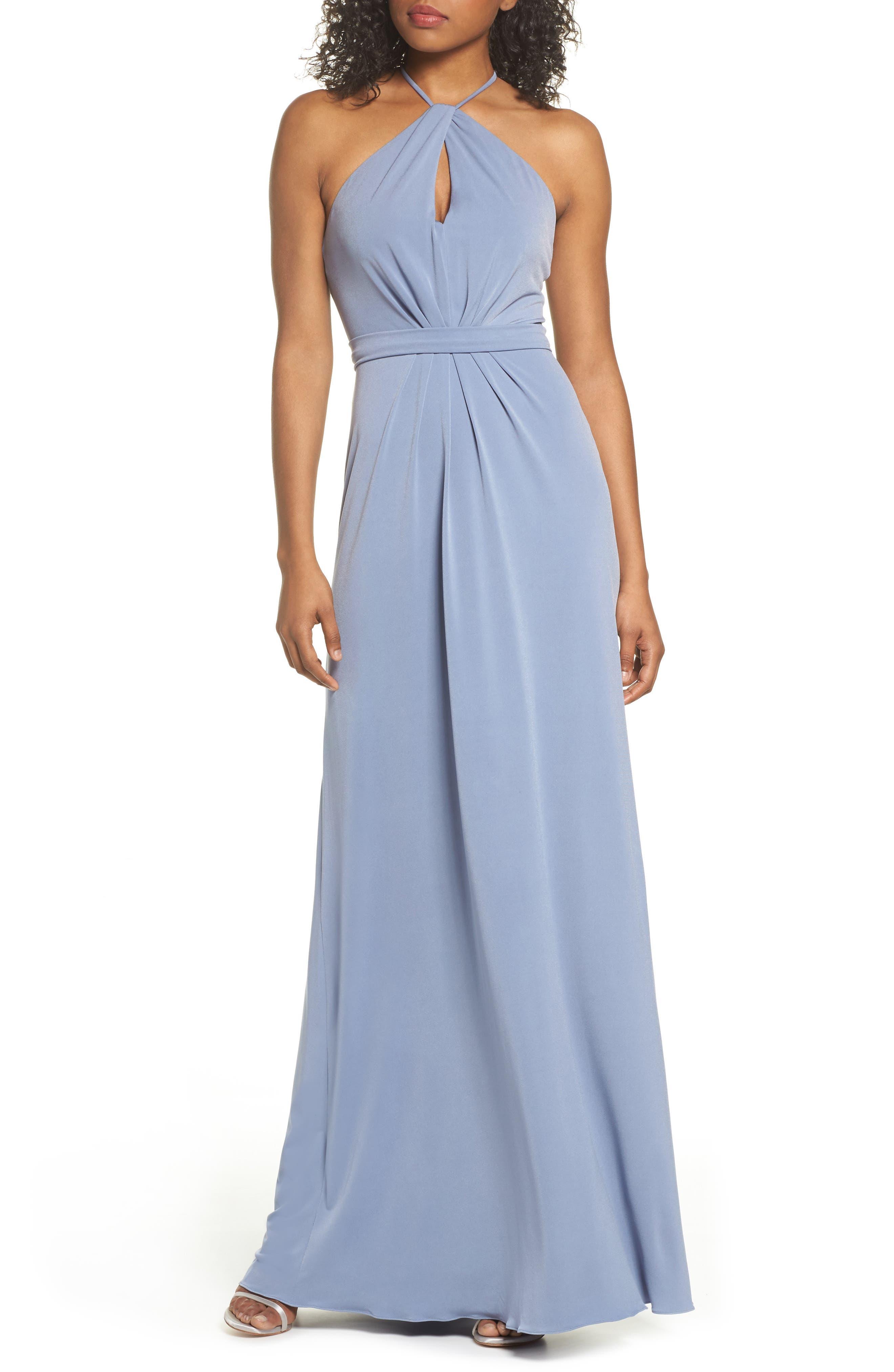 Amsale Sena Jersey Keyhole Halter Gown, Grey