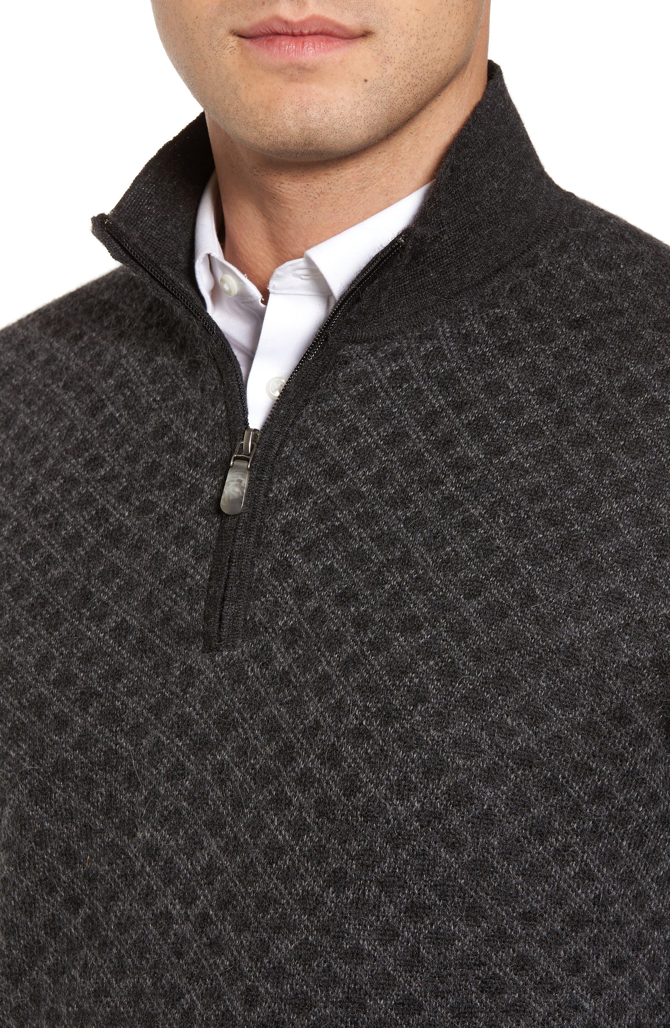 Diamond Quarter Zip Alpaca Sweater,                             Alternate thumbnail 4, color,                             020