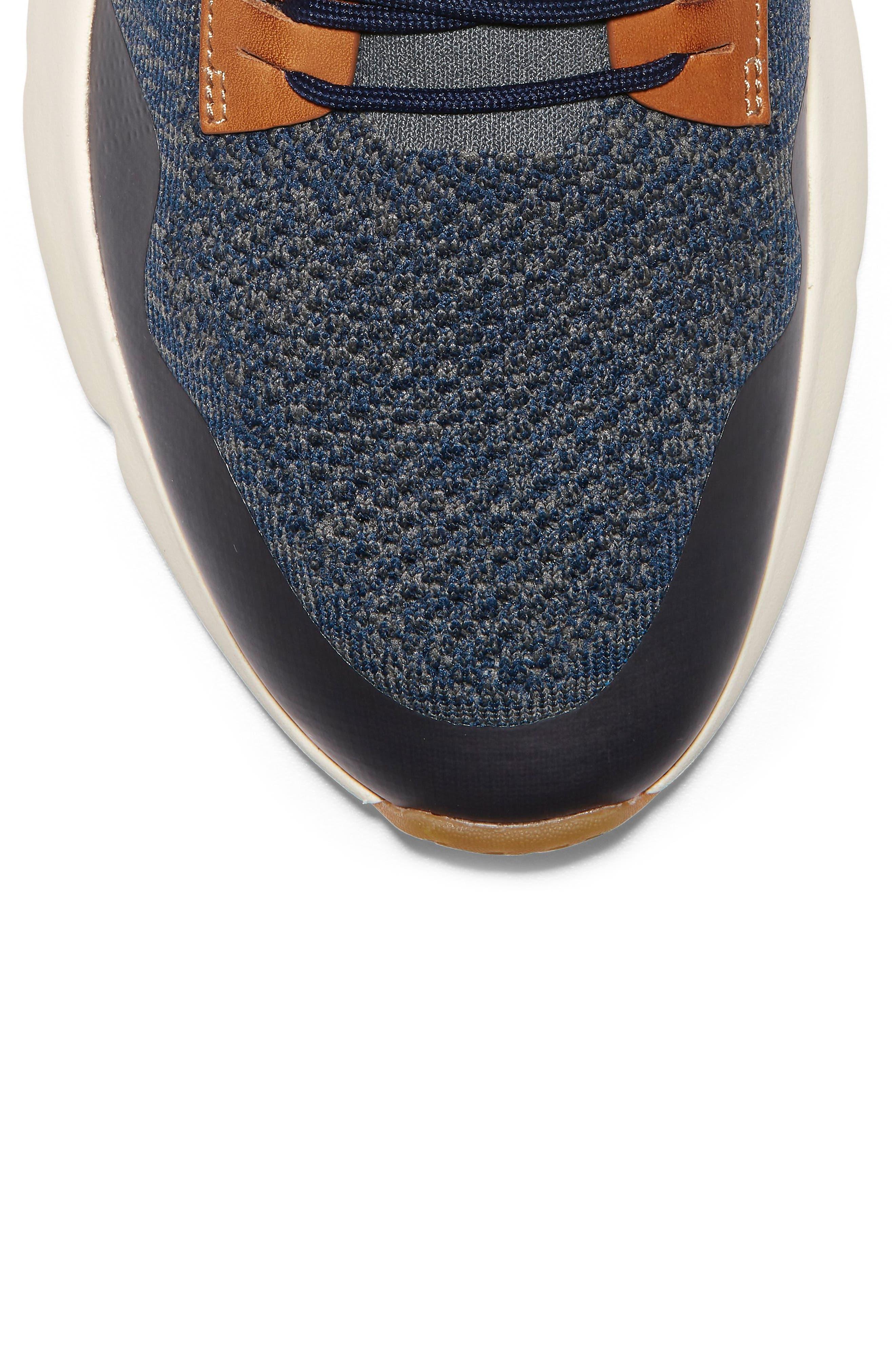 ZeroGrand All-Day Trainer Sneaker,                             Alternate thumbnail 7, color,                             MARINE BLUE/ TAN KNIT