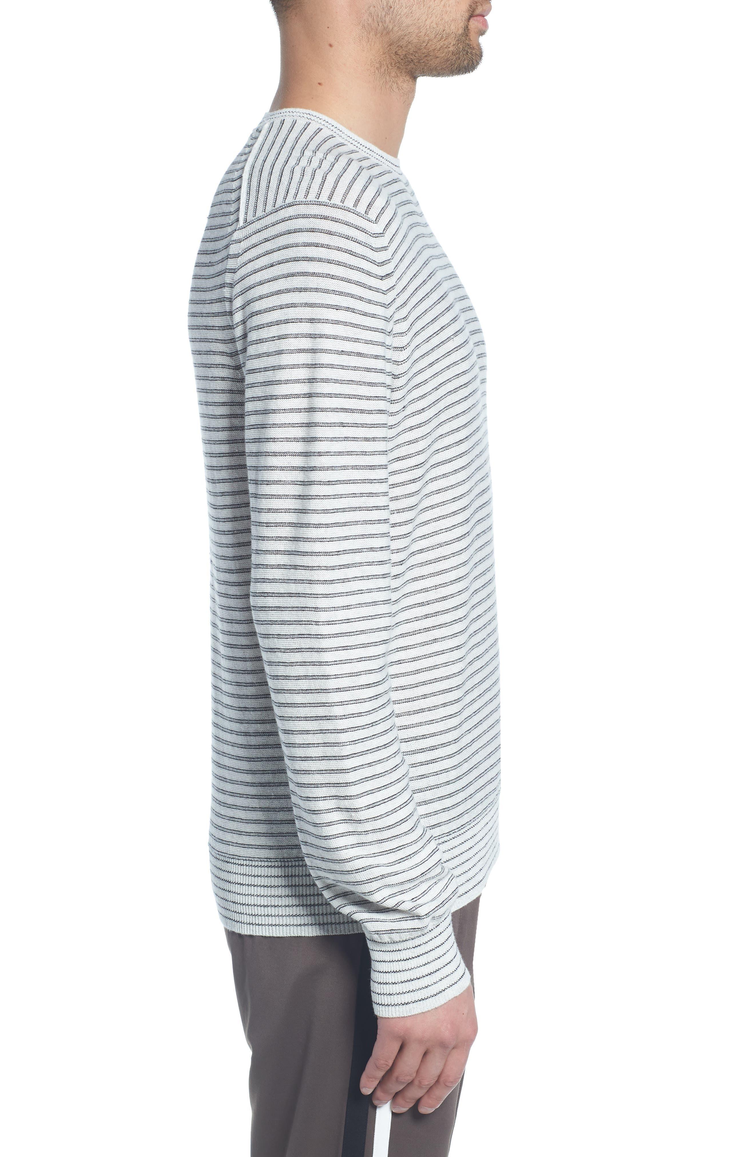 Stripe Long Sleeve Shirt,                             Alternate thumbnail 3, color,                             H WHITE/ BLACK