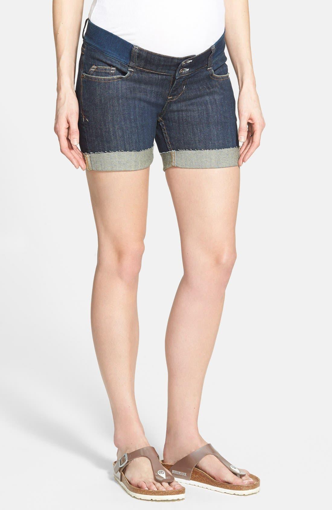 Denim Maternity Shorts,                         Main,                         color, DARK DENIM