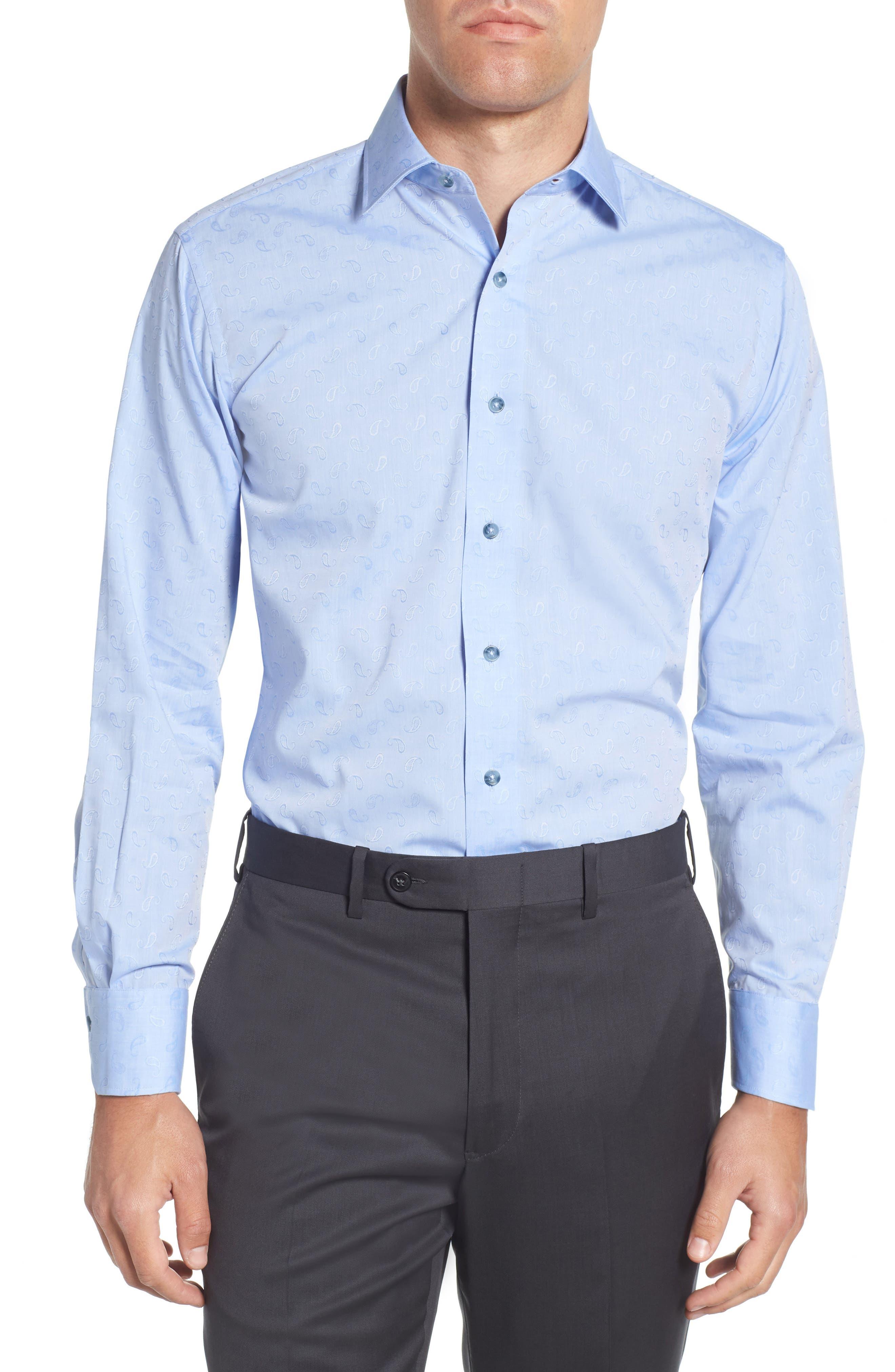 Trim Fit Paisley Dress Shirt,                         Main,                         color, LIGHT BLUE