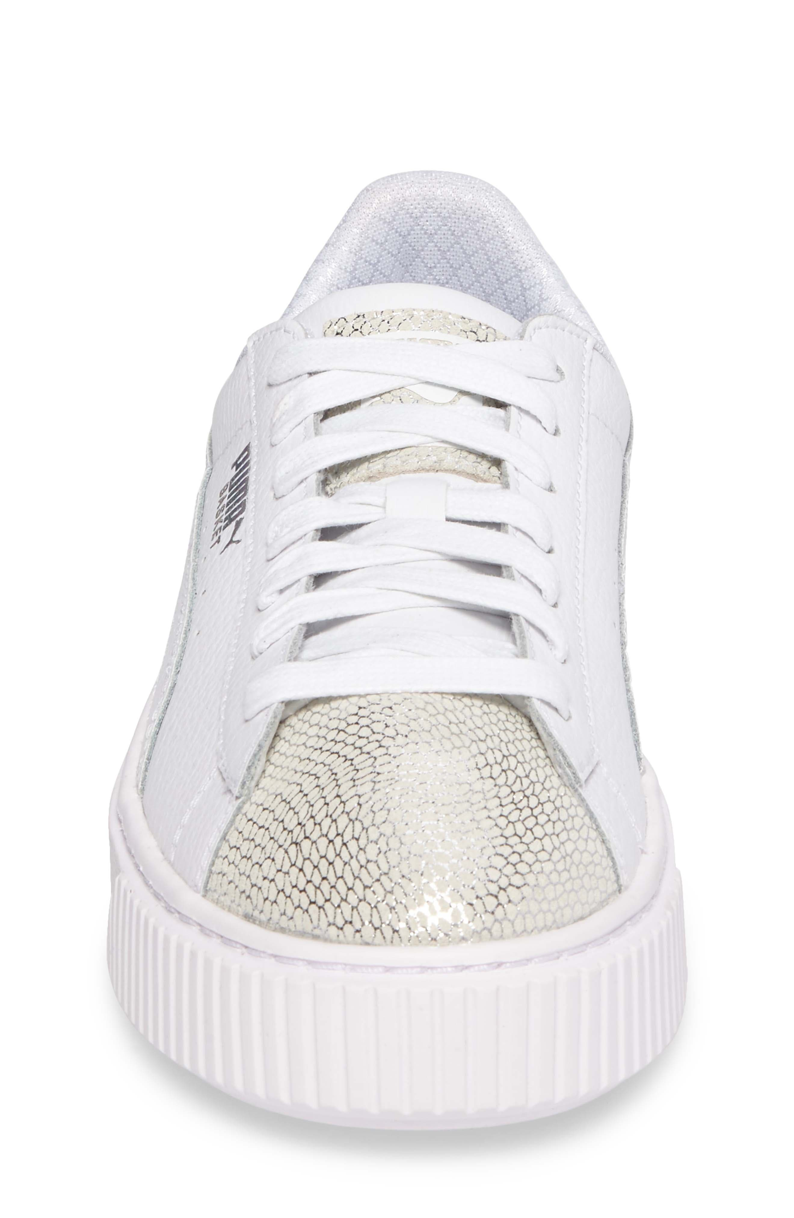 Basket Glitz Platform Sneaker,                             Alternate thumbnail 4, color,                             100