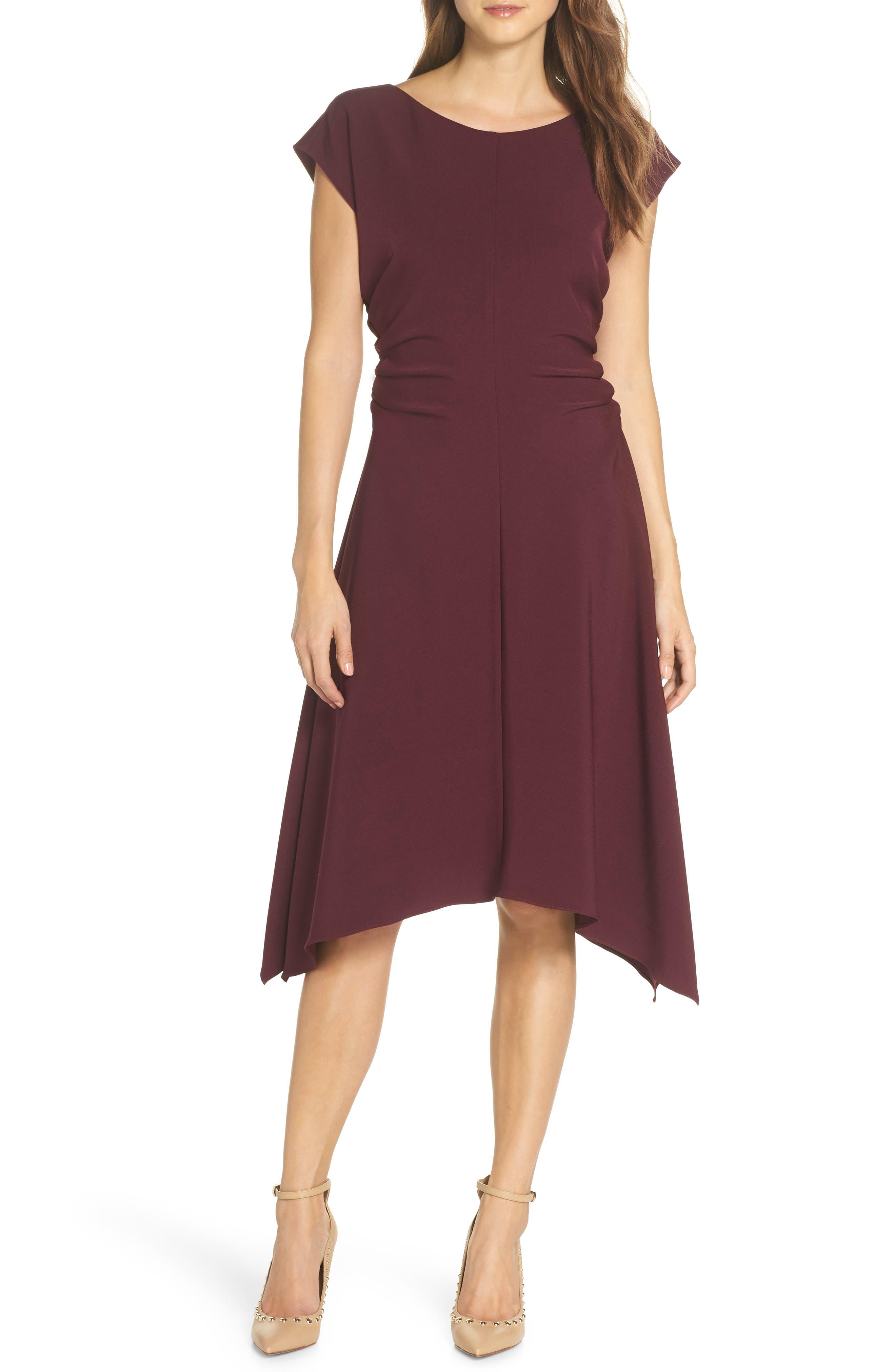 JULIA JORDAN,                             Ruched Stretch Crepe Fit & Flare Dress,                             Alternate thumbnail 6, color,                             PLUM