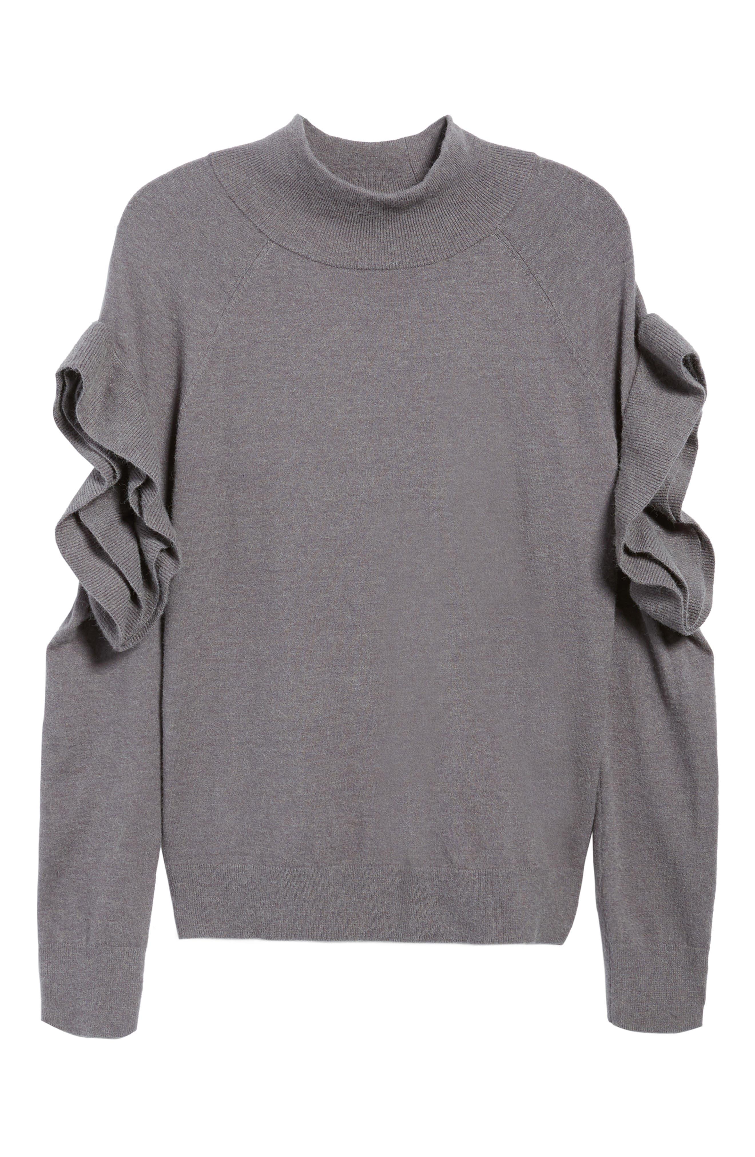 Ruffle Sleeve Sweater,                             Alternate thumbnail 16, color,