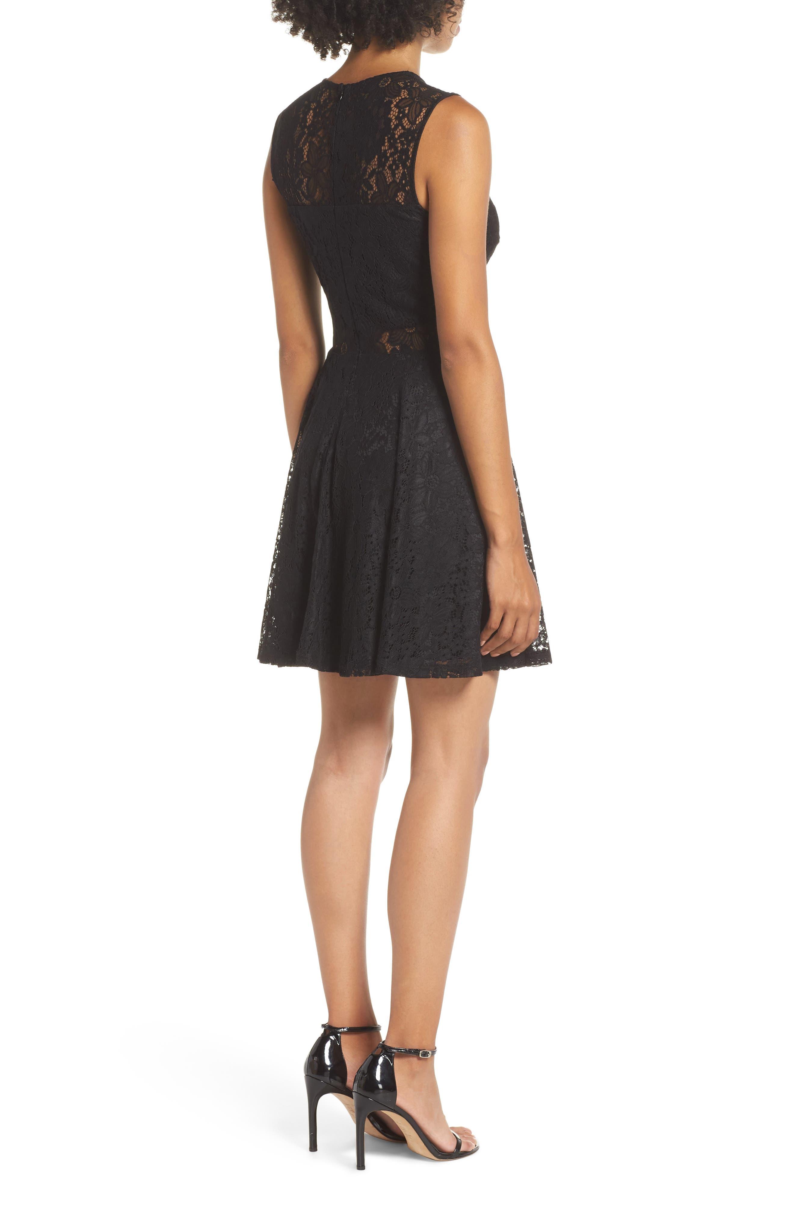 Lace Skater Dress,                             Alternate thumbnail 2, color,                             BLACK