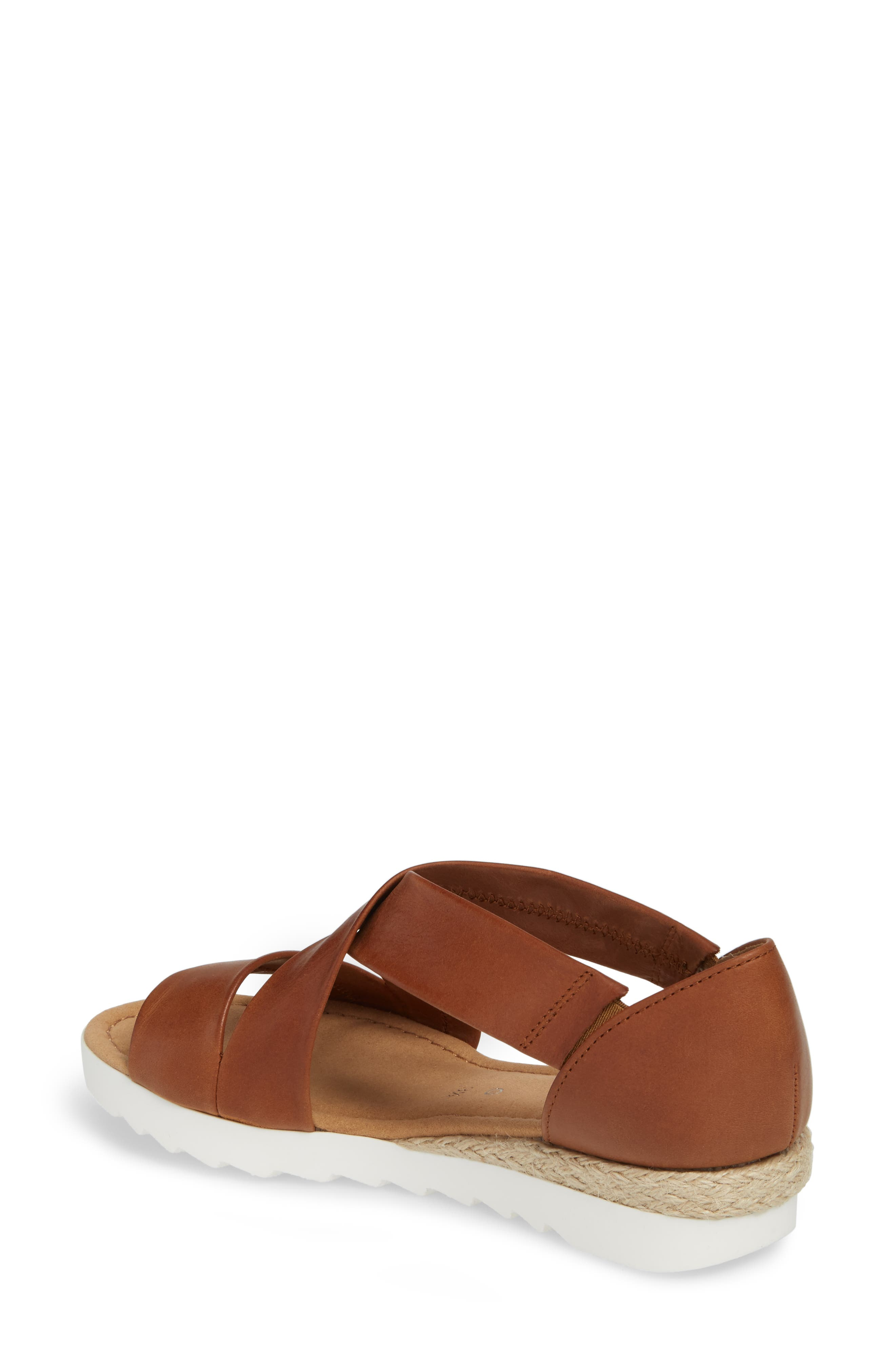 Cross Strap Sandal,                             Alternate thumbnail 2, color,                             BROWN LEATHER