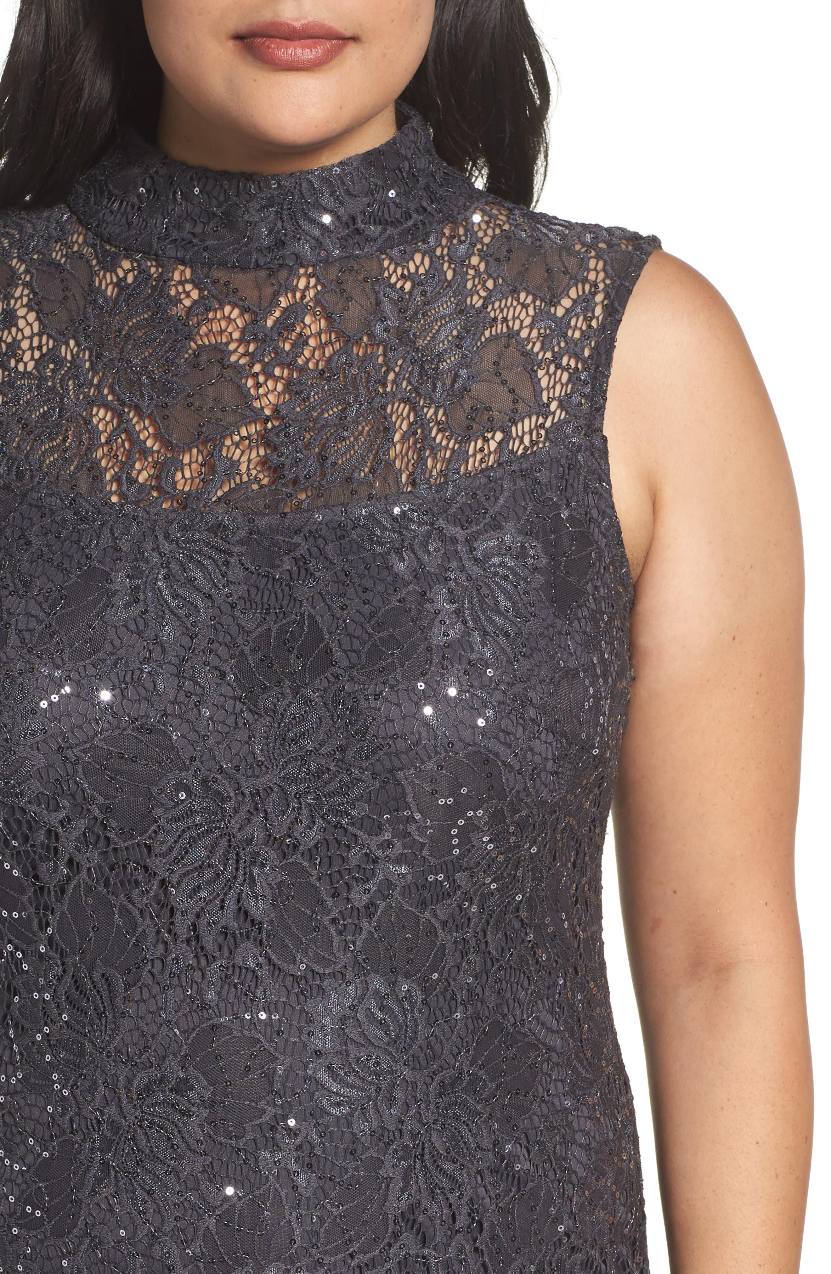 Illusion Lace Gown,                             Alternate thumbnail 4, color,                             069
