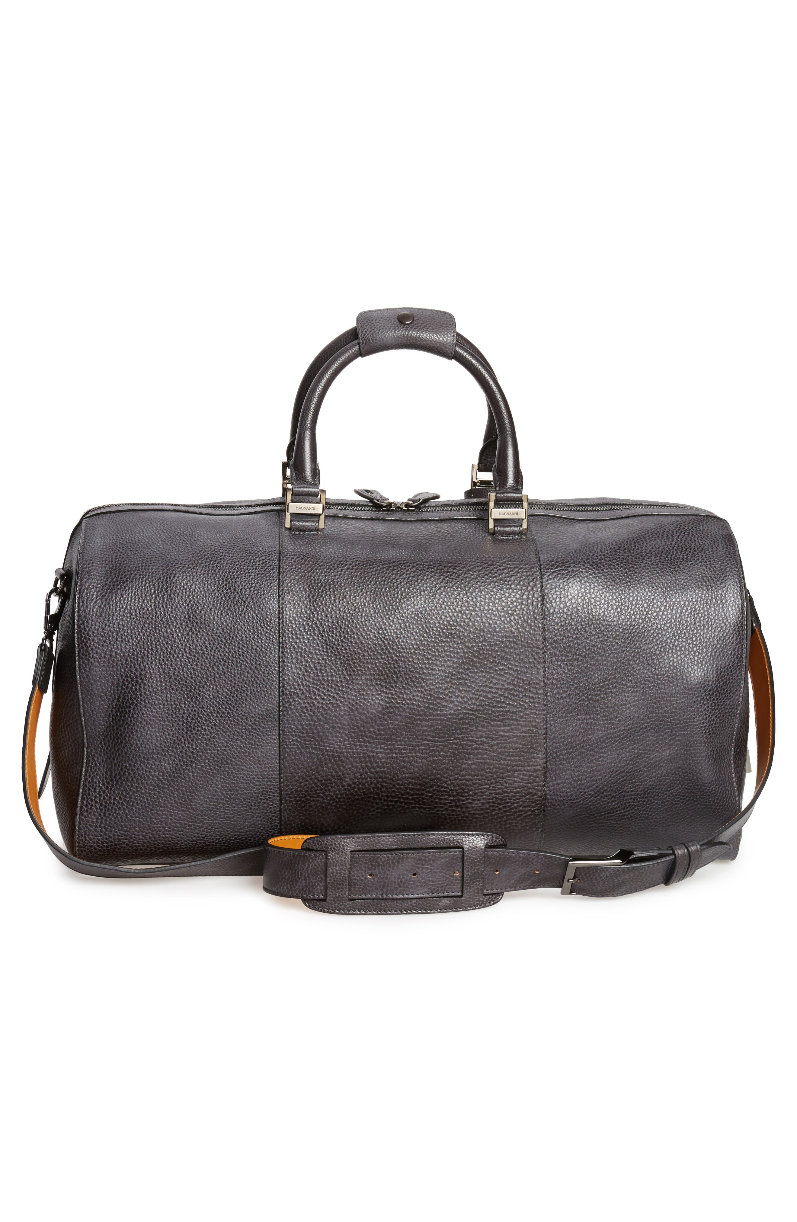 Traveler Leather Duffel Bag,                             Alternate thumbnail 3, color,                             020