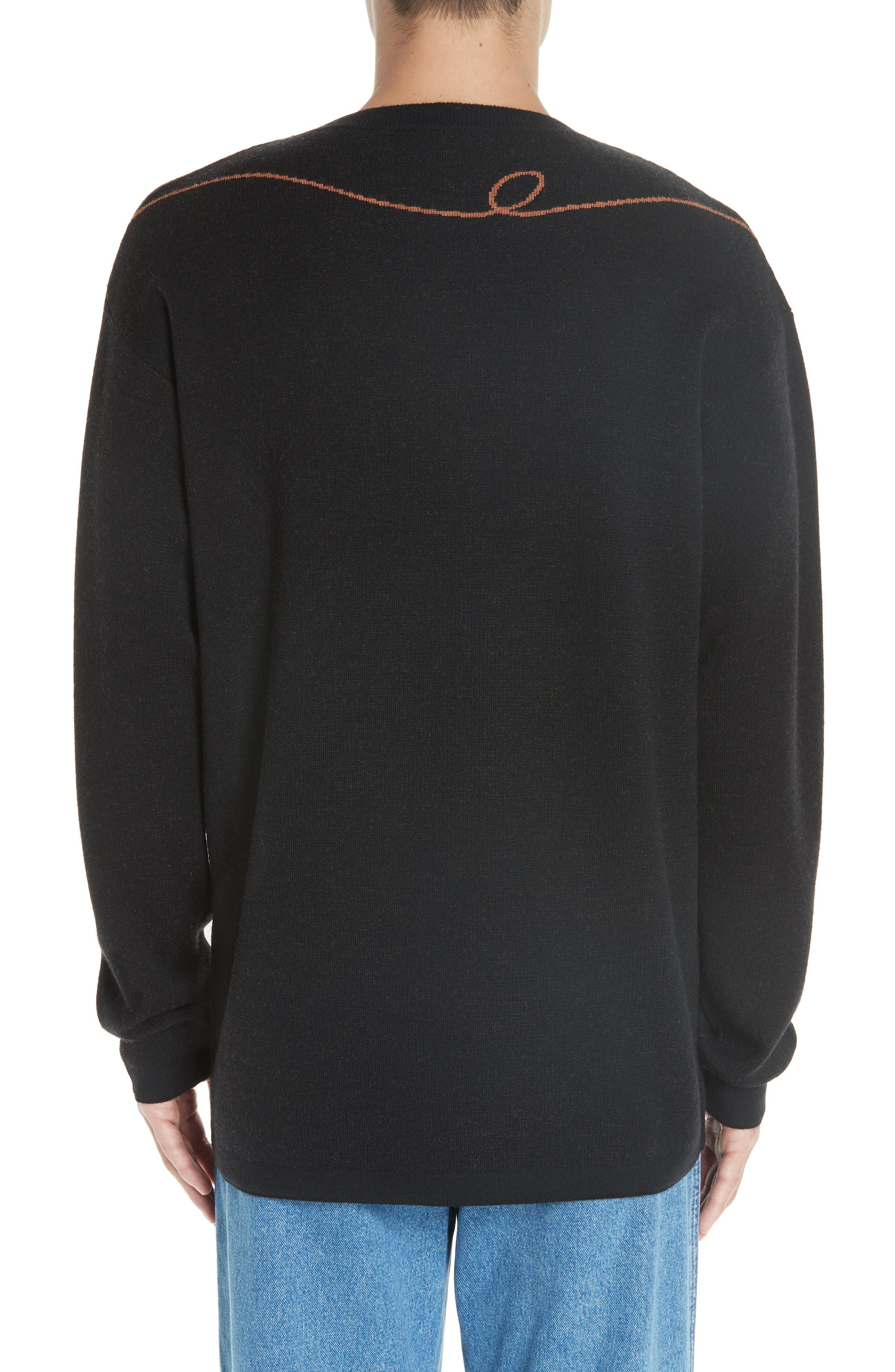 Logo Jacquard Wool Sweater,                             Alternate thumbnail 2, color,                             BLACK